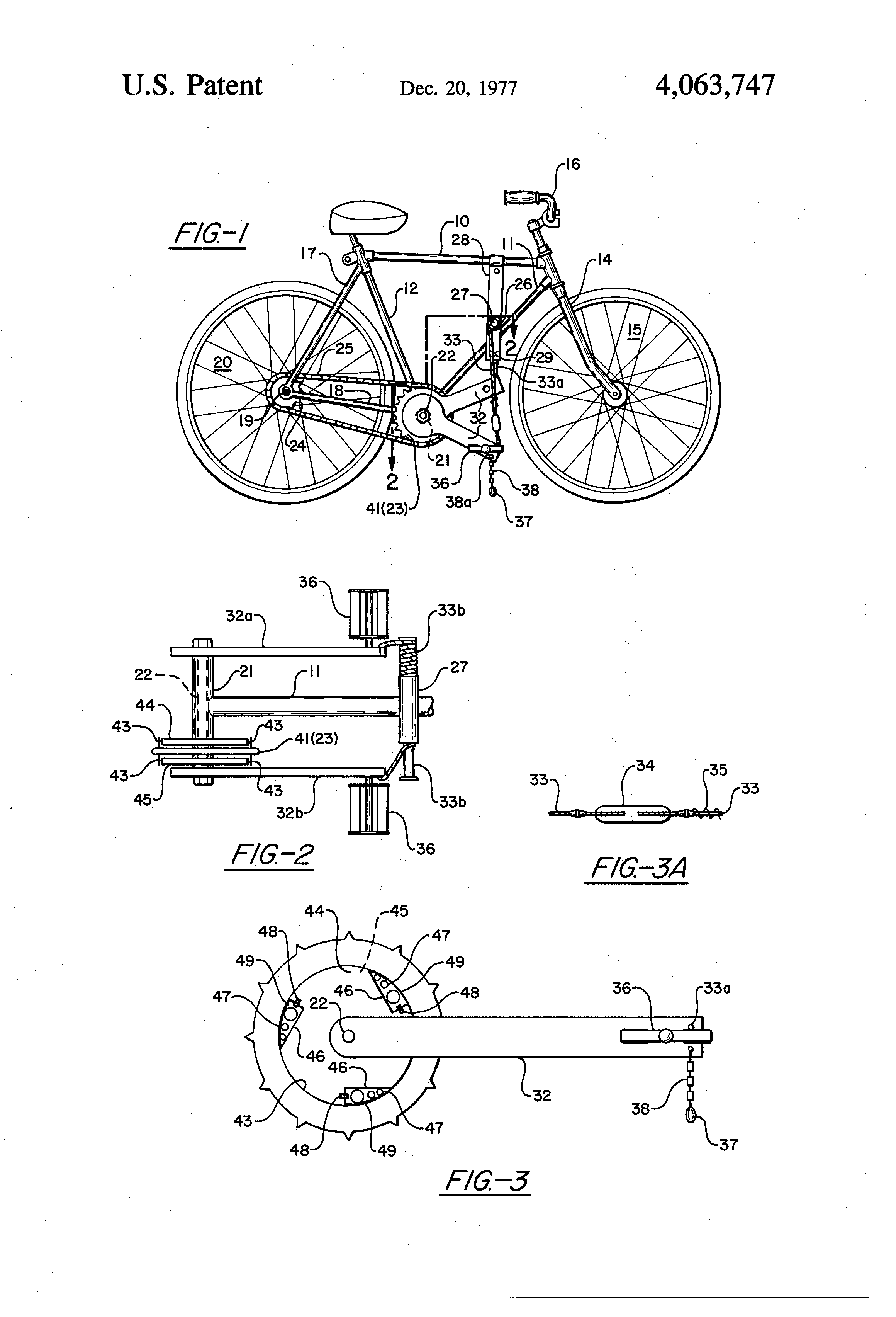 patent us4063747 - noiseless ratchet drive mechanism for the bicycle and the like