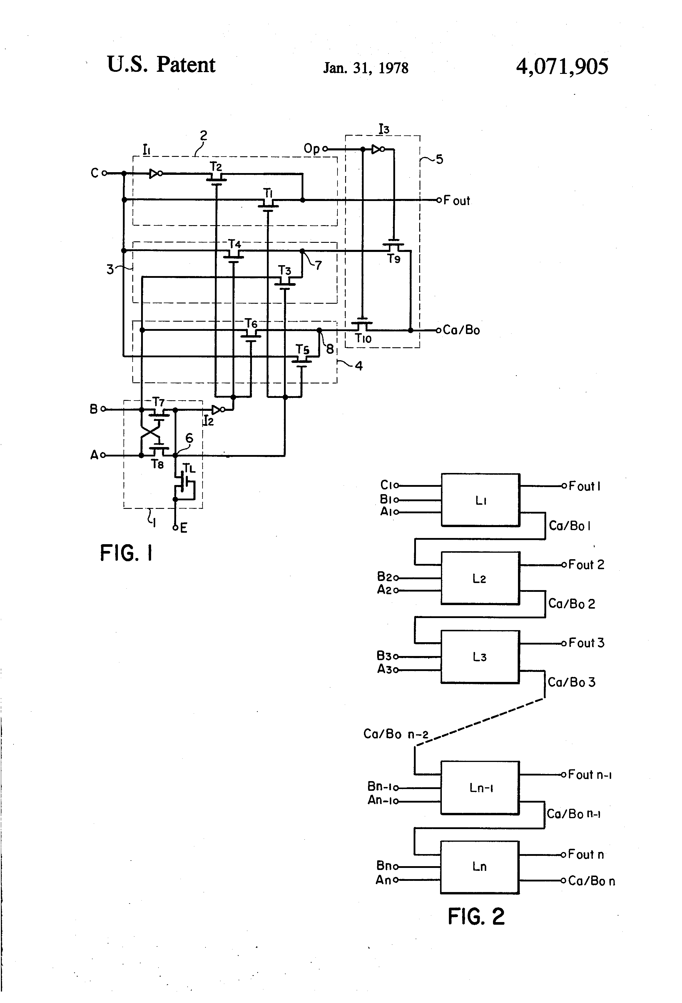 Patente Us4071905 Full Adder Subtractor Circuit Employing Binary Patent Drawing