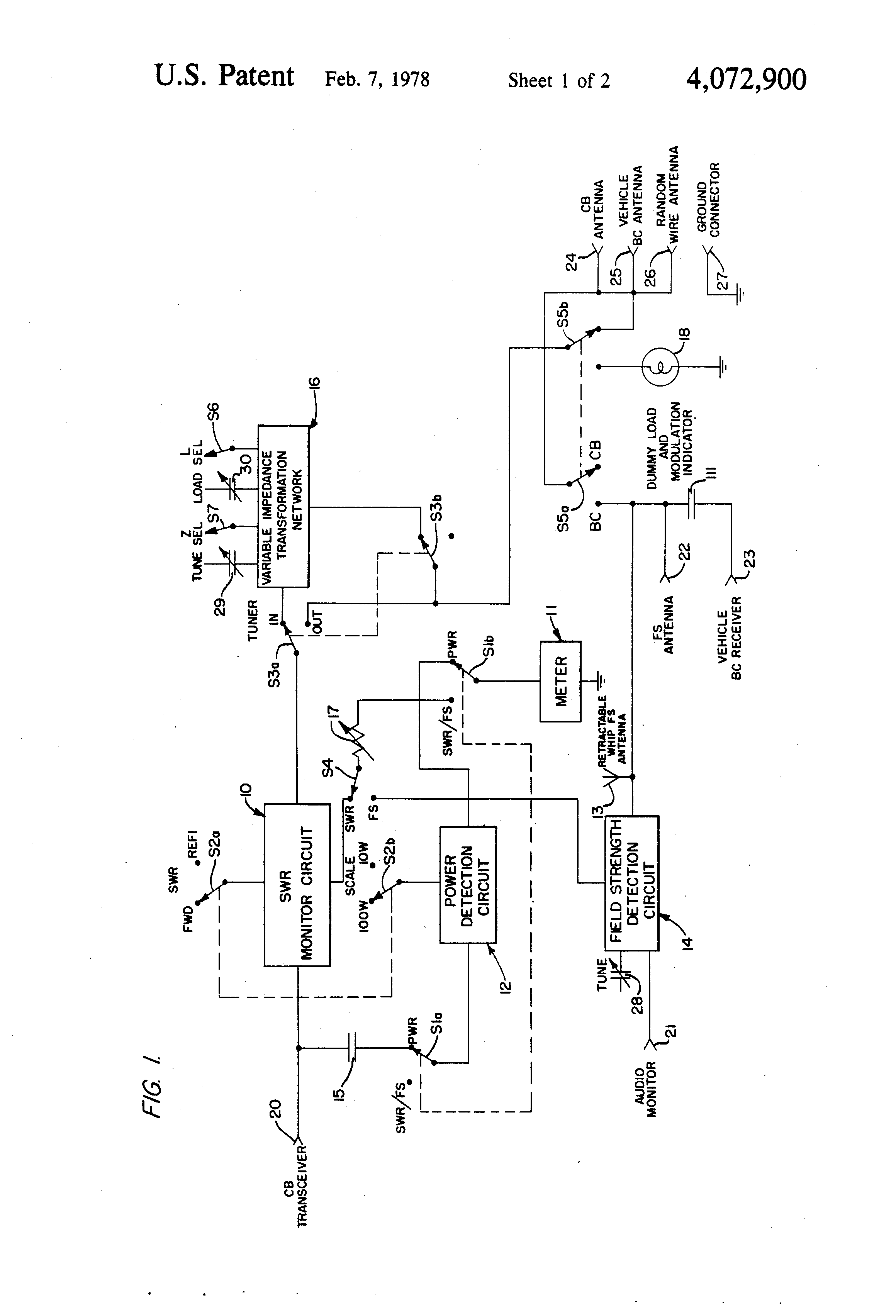 patent us4072900 - cb radio accessory unit