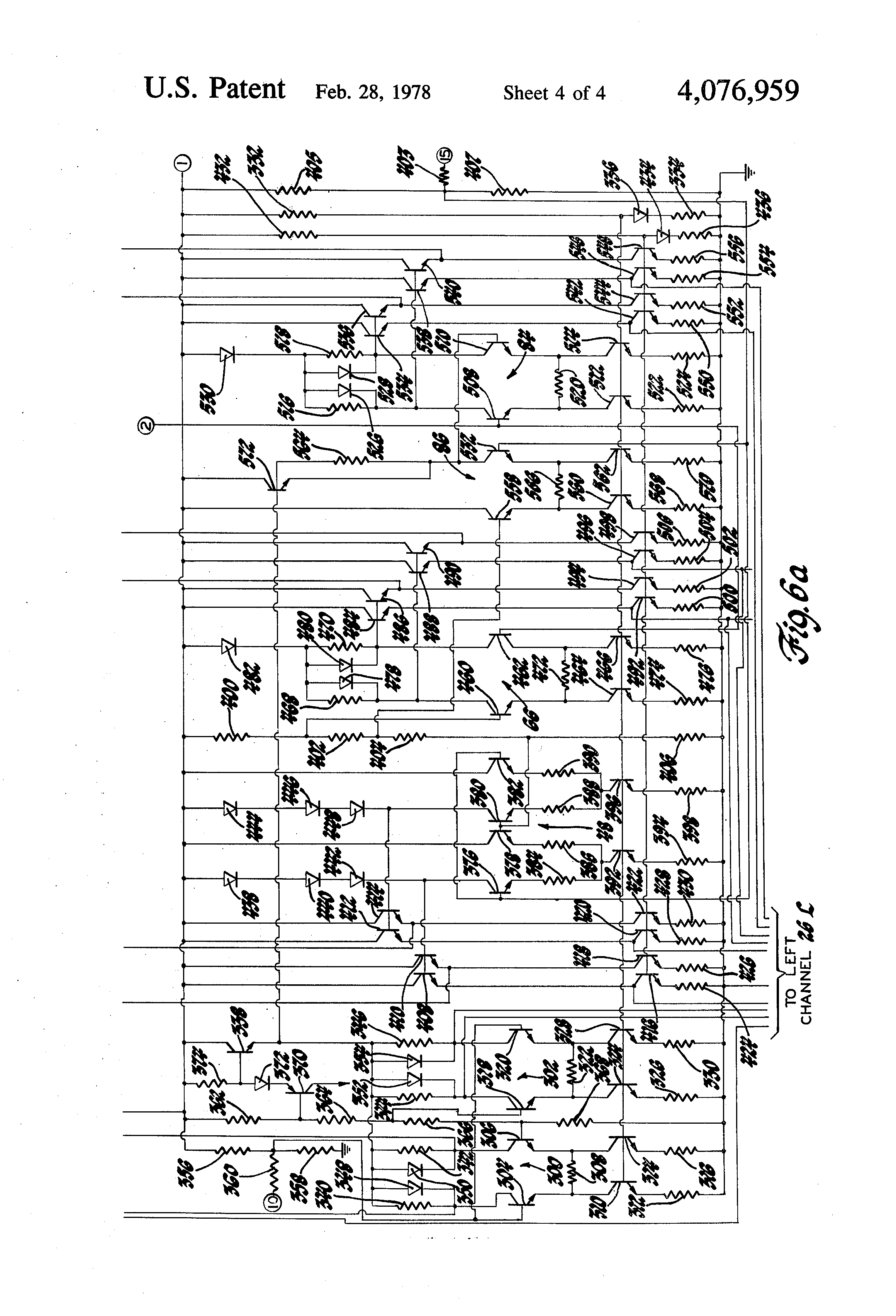 Patent Us4076959 Volume Tone And Balance Control For Multi Bass Treble Without Any Ic Transistor Drawing