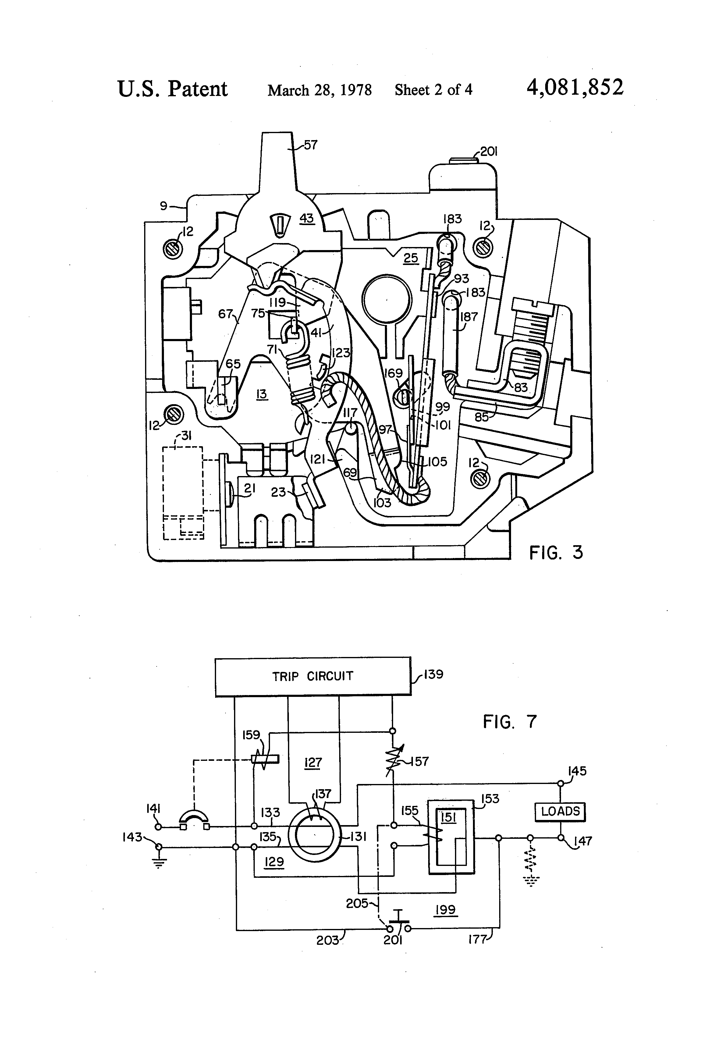 patent us4081852 - ground fault circuit breaker