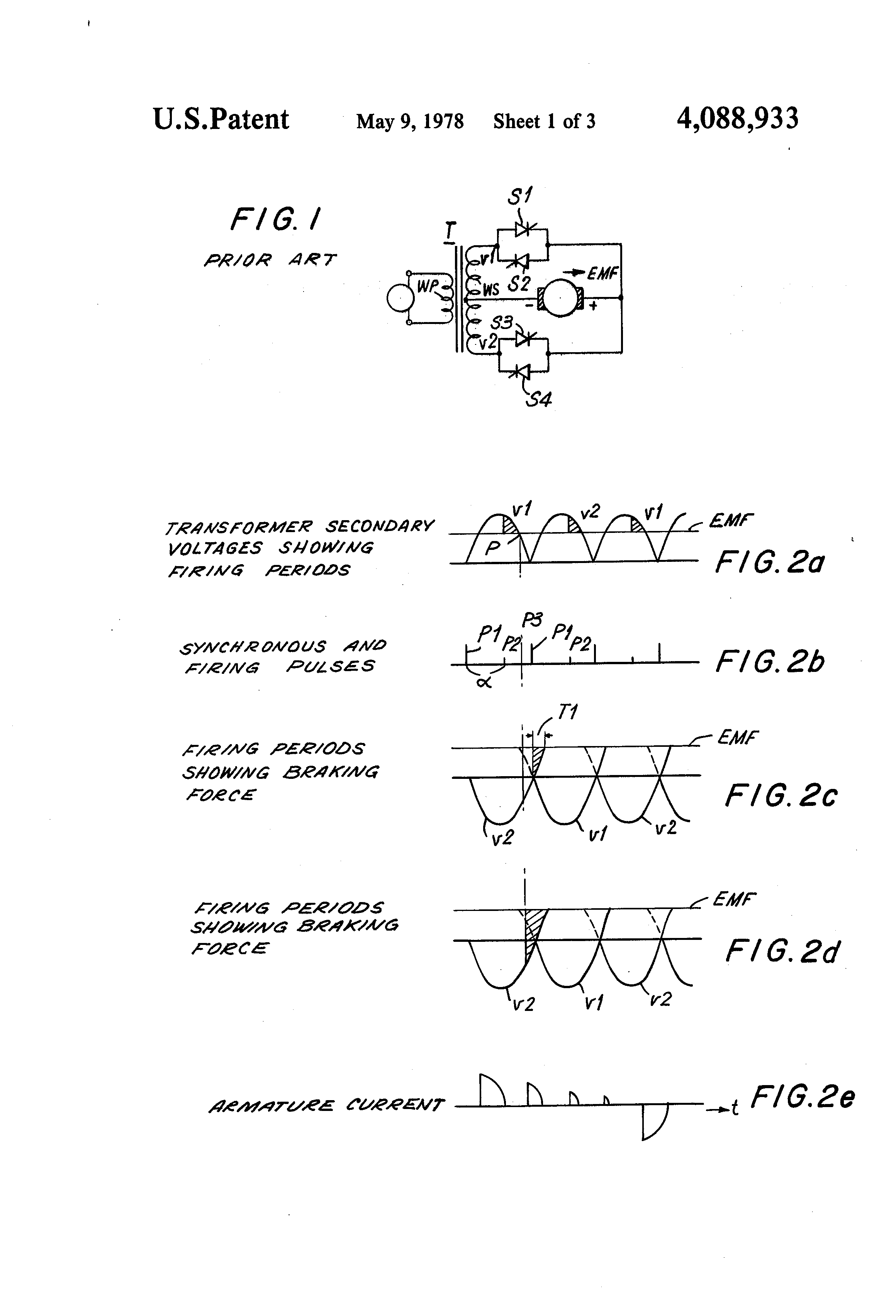 Patente Us4088933 Dc Motor Phase Control System Google Patentes Speed Circuit Besides 3 Scr Rectifier Patent Drawing