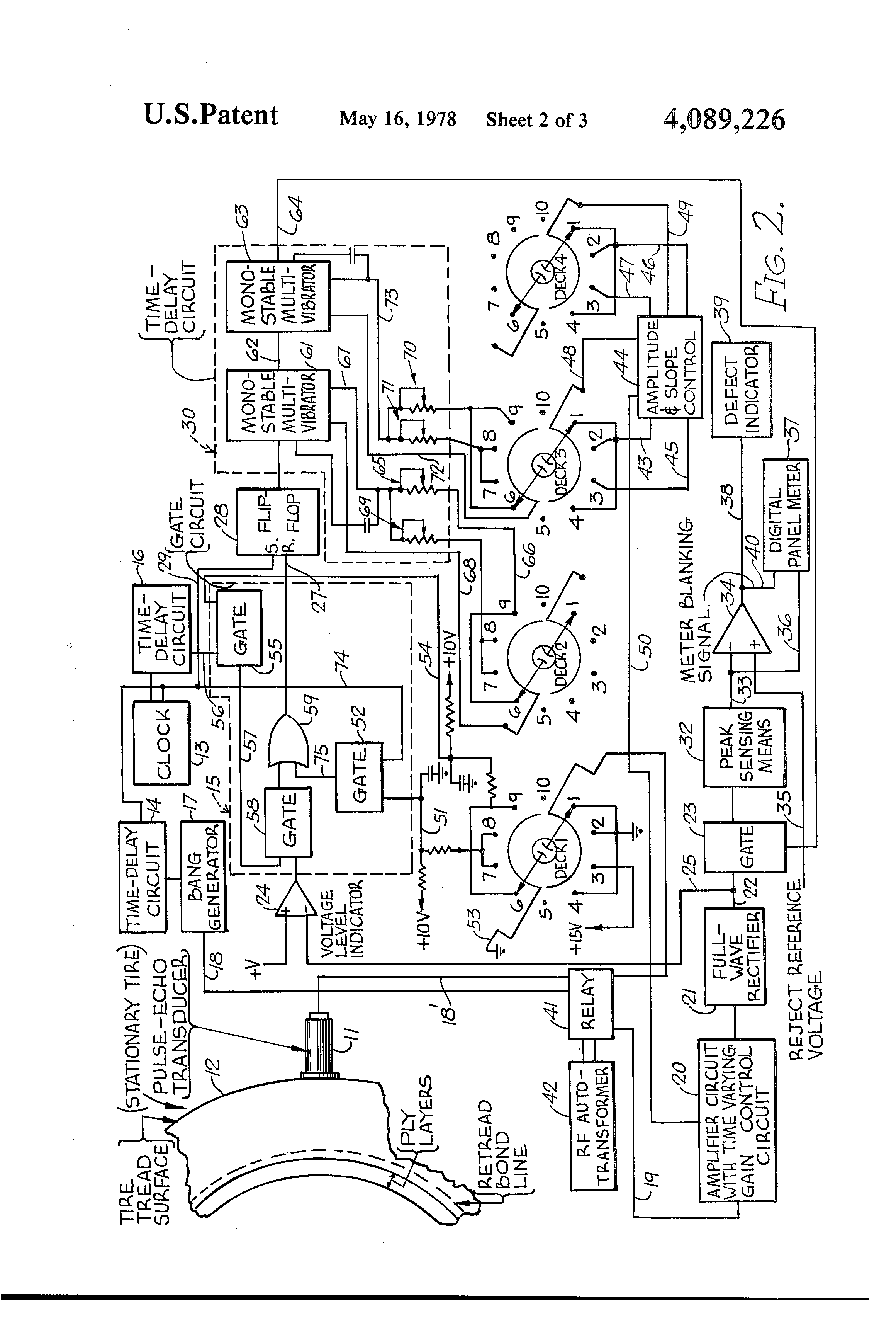 Patent Us4089226 System For Residual Tire Life Prediction By Digital Long Time Delay Circuit Amplifiercircuit Diagram Drawing