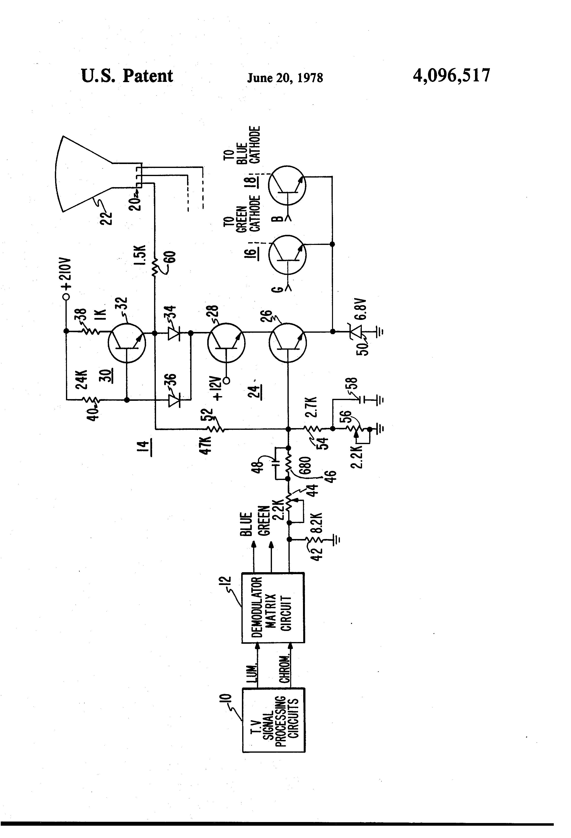 Brevet Us4096517 Video Amplifier Google Brevets Common Emitter Transistor Circuit Patent Drawing