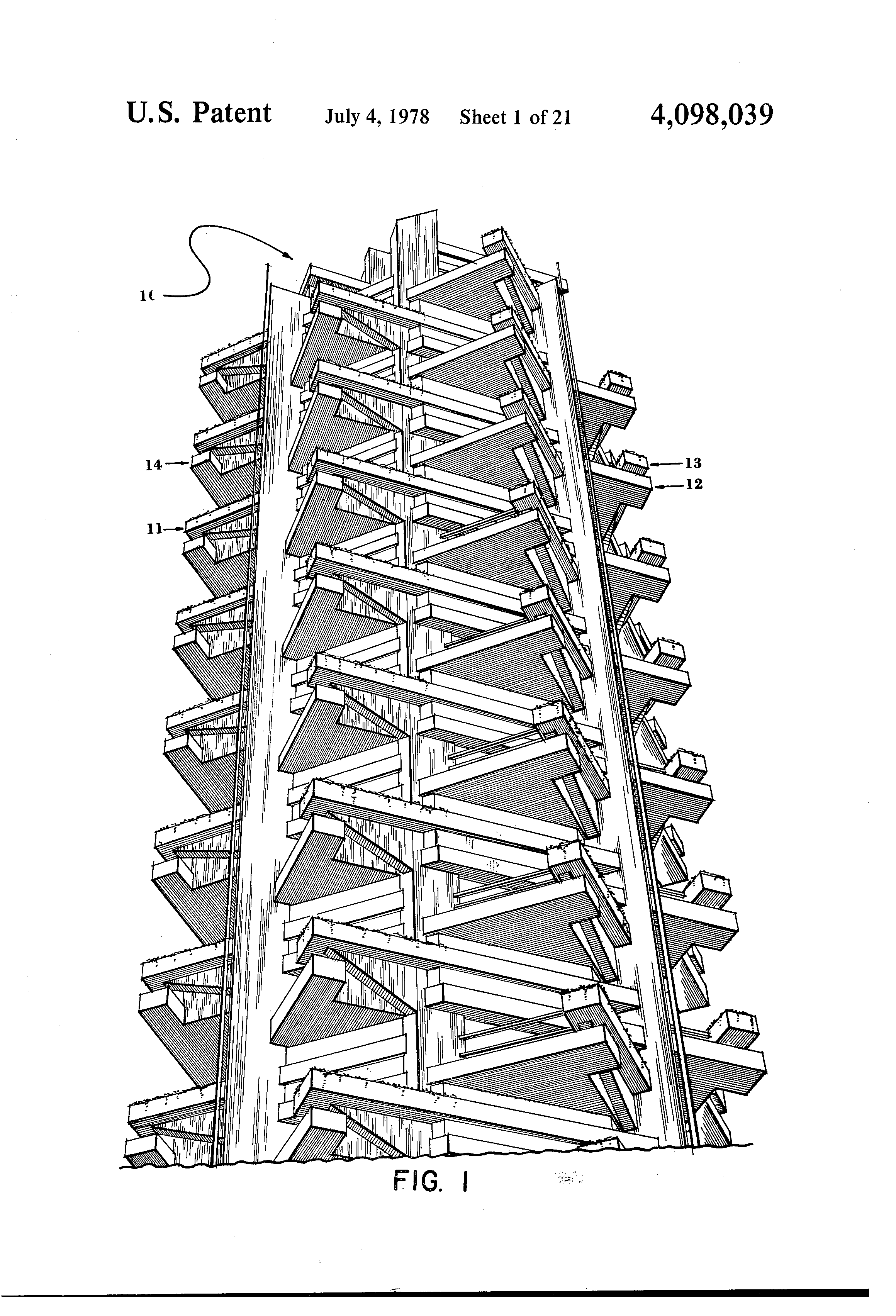 Patent Us4098039 Multi Level Building With Prefabricated