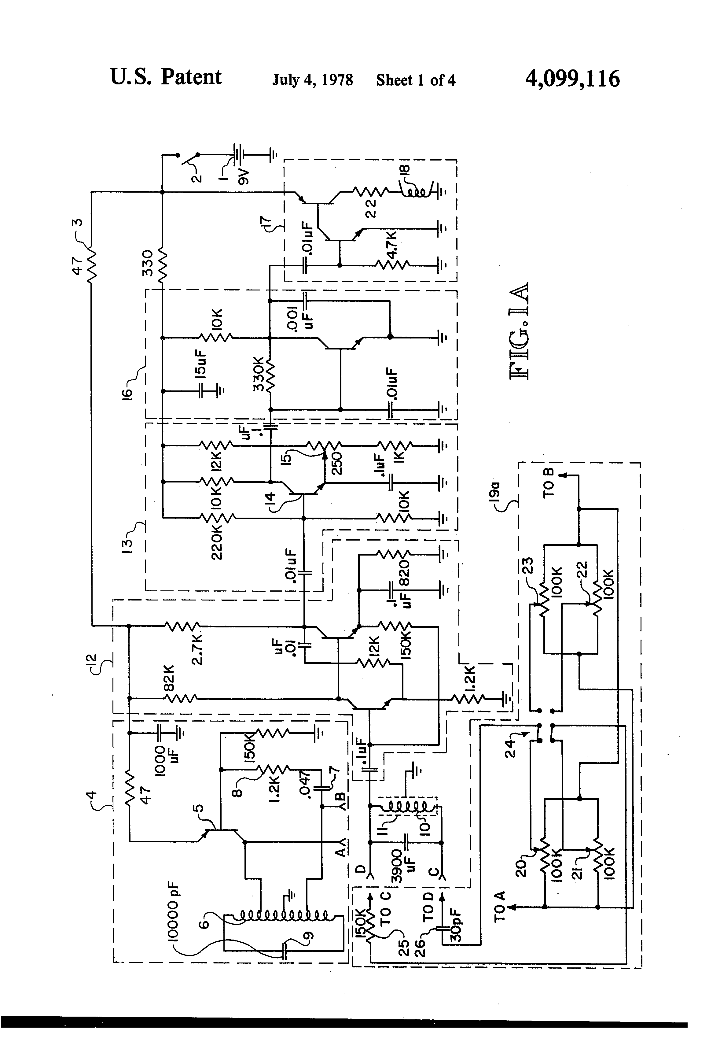 patent us4099116 metal detector phase related circuit patent drawing