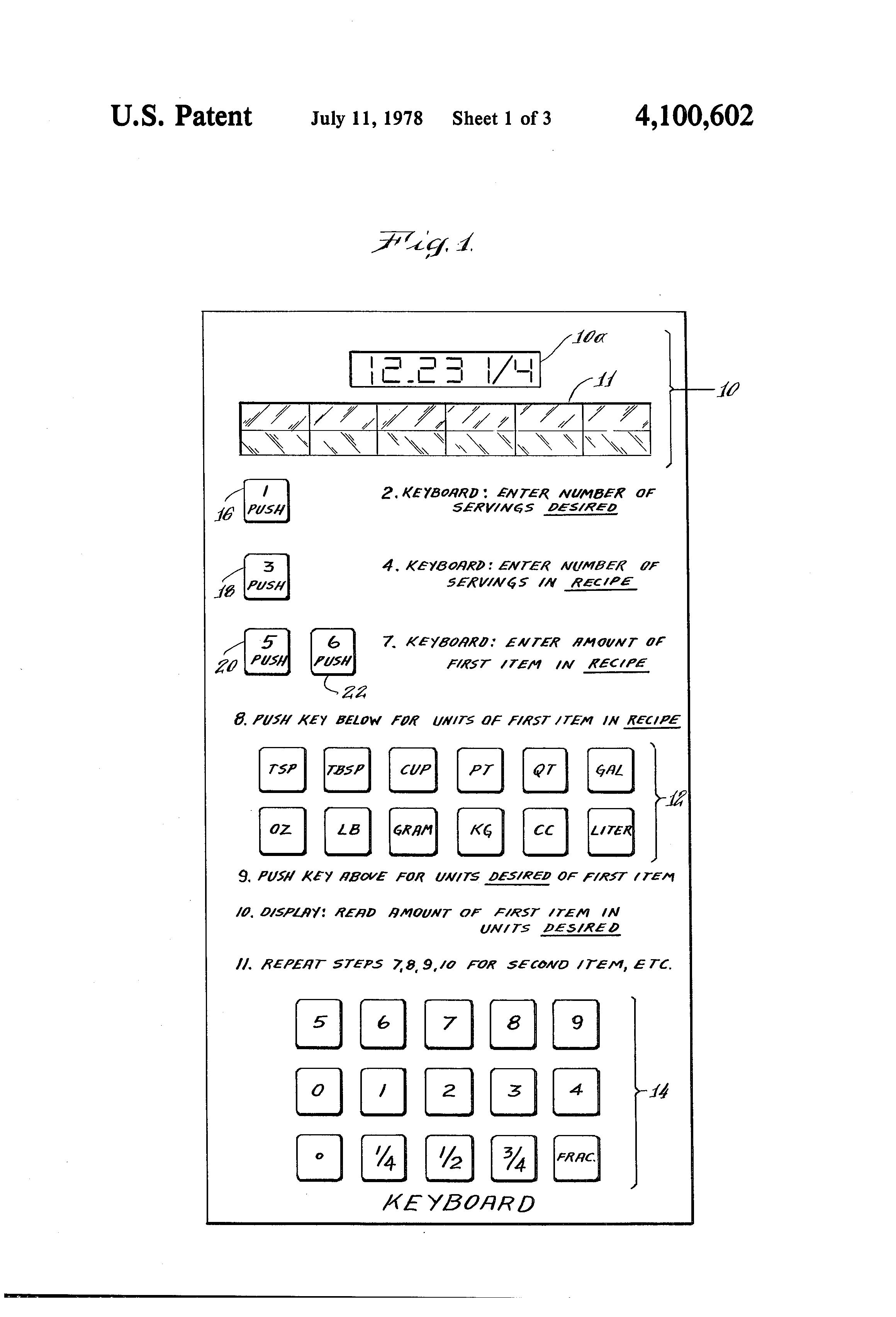patente us recipe conversion calculator google patentes
