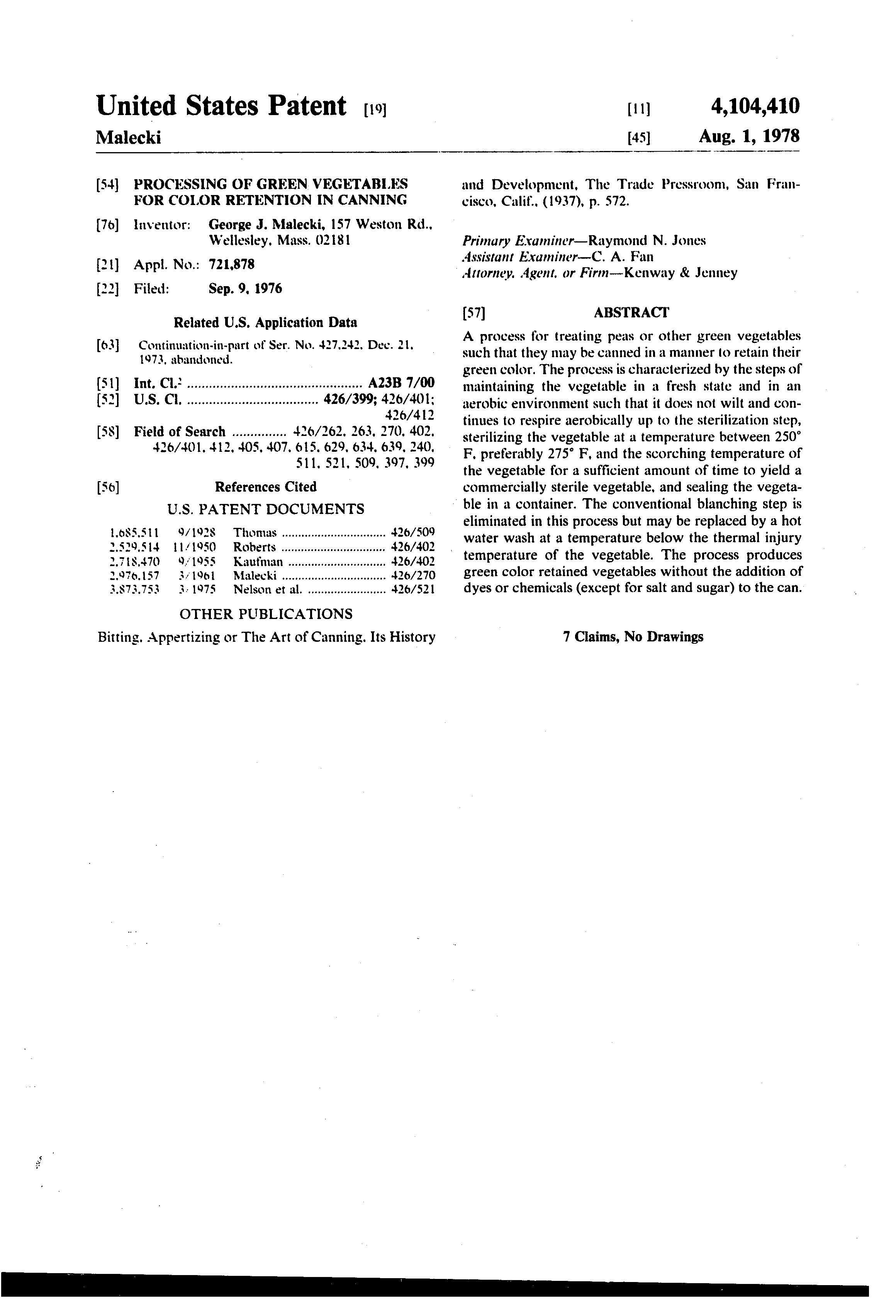 patent us4104410 processing of green vegetables for color