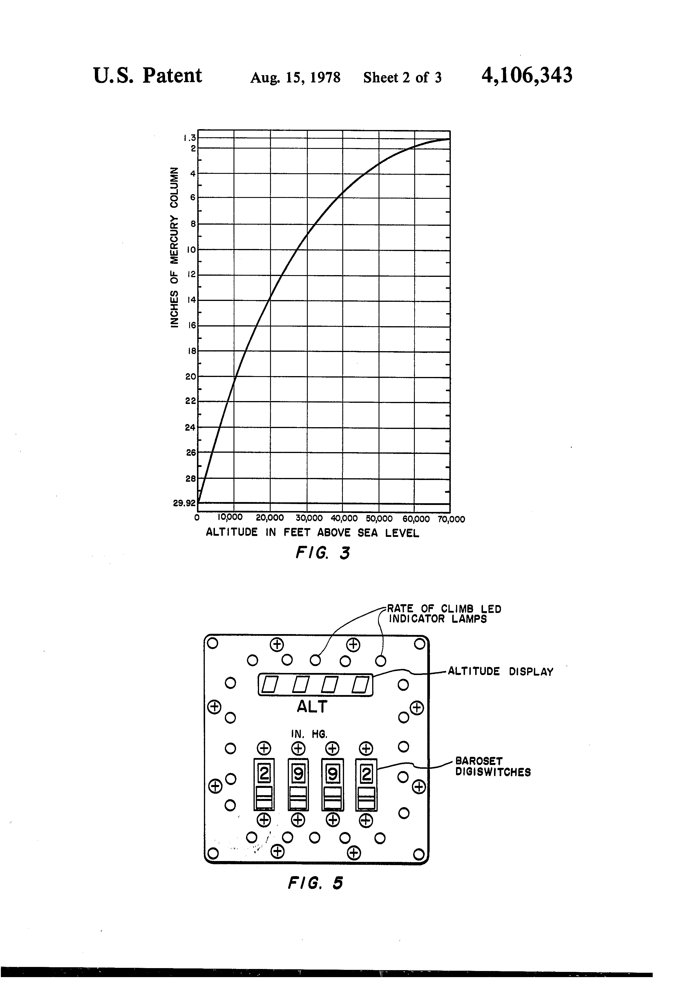 patent us4106343 - solid state barometric altimeter-encoder