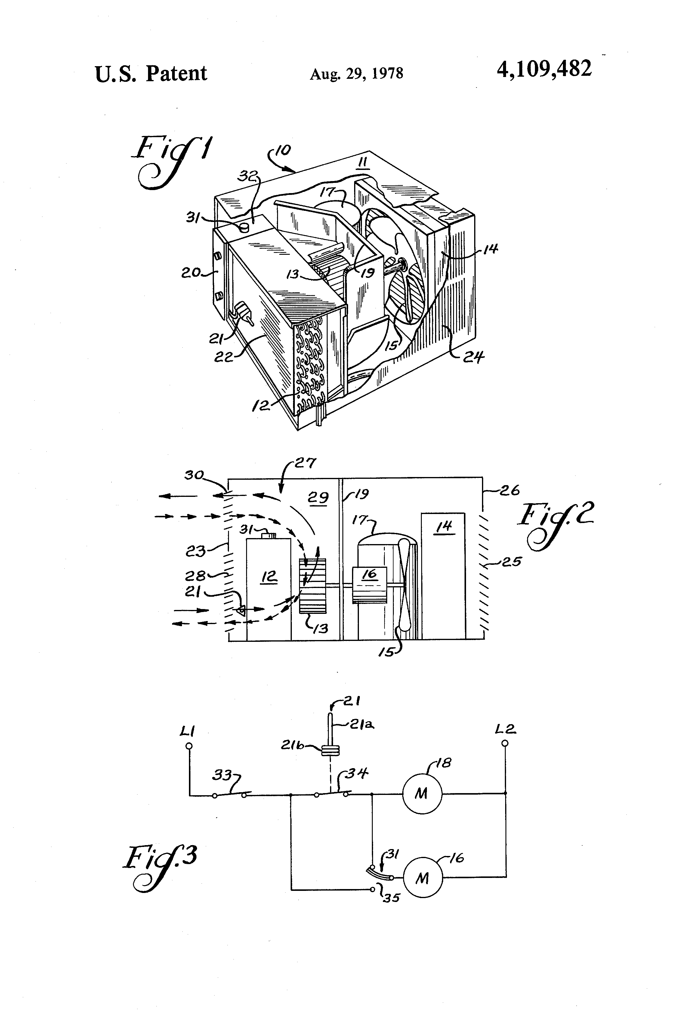 Patent Us4109482 Fan Control Circuit For Air Conditioner Google Drawing