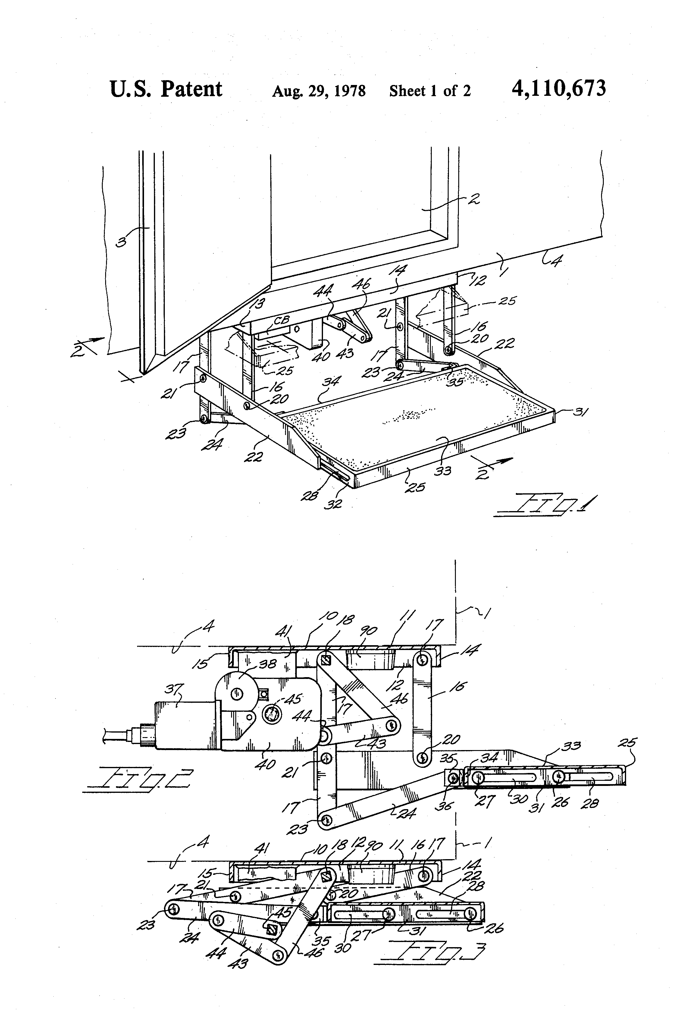 patent us4110673 extendable vehicle step and step motor control patent drawing