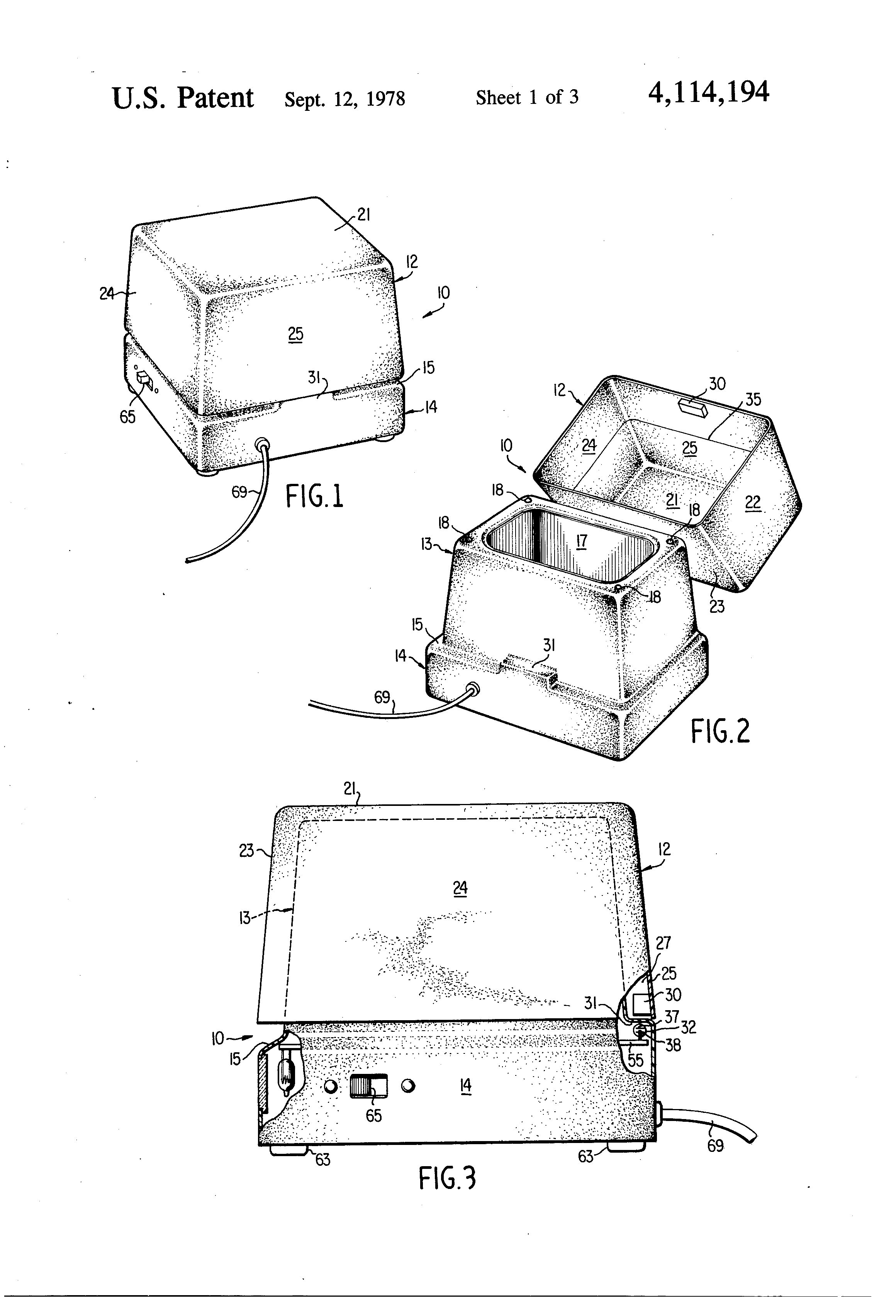 patent us4114194 - ultrasonic cleaner