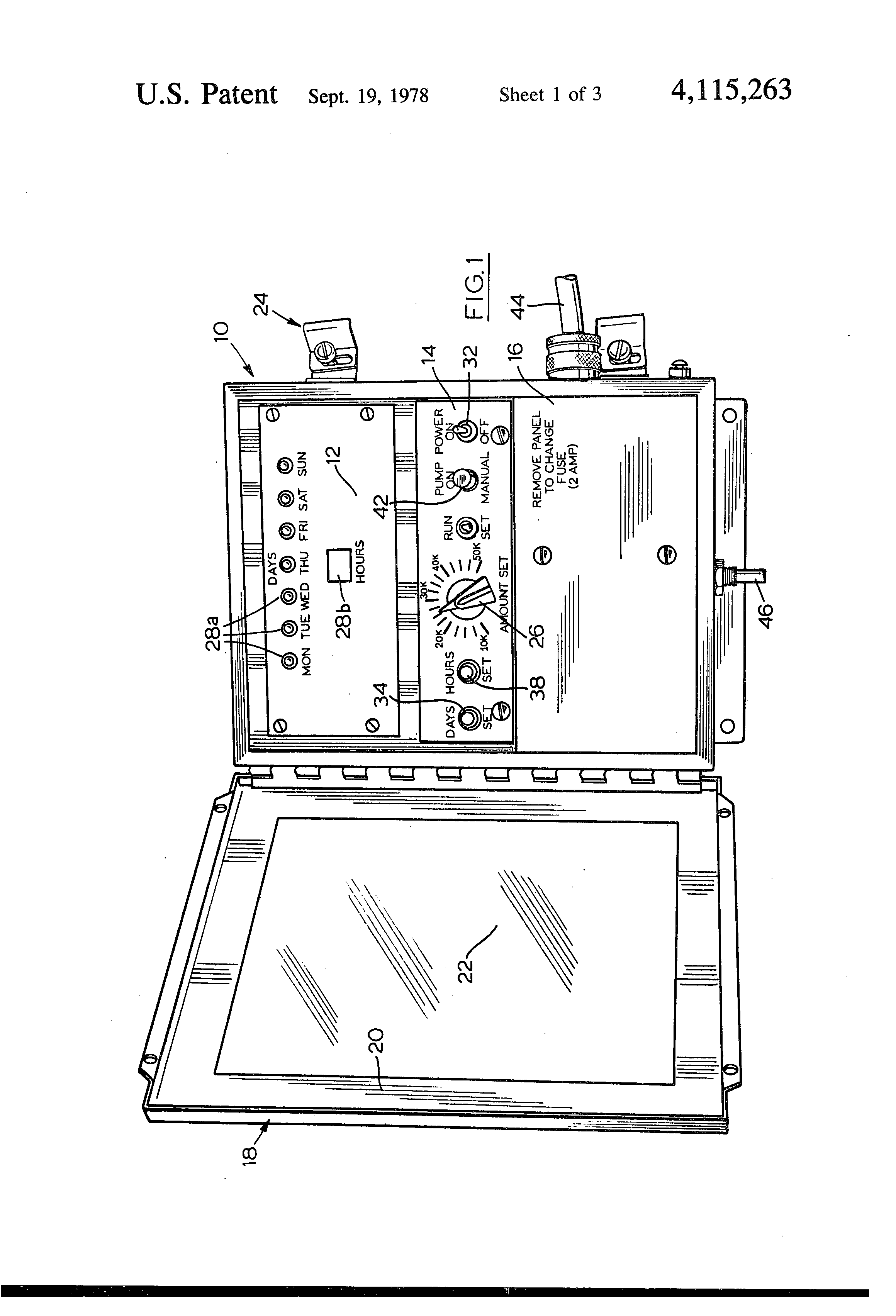 patent us4115263 periodic chlorination and superchlorination of patent drawing
