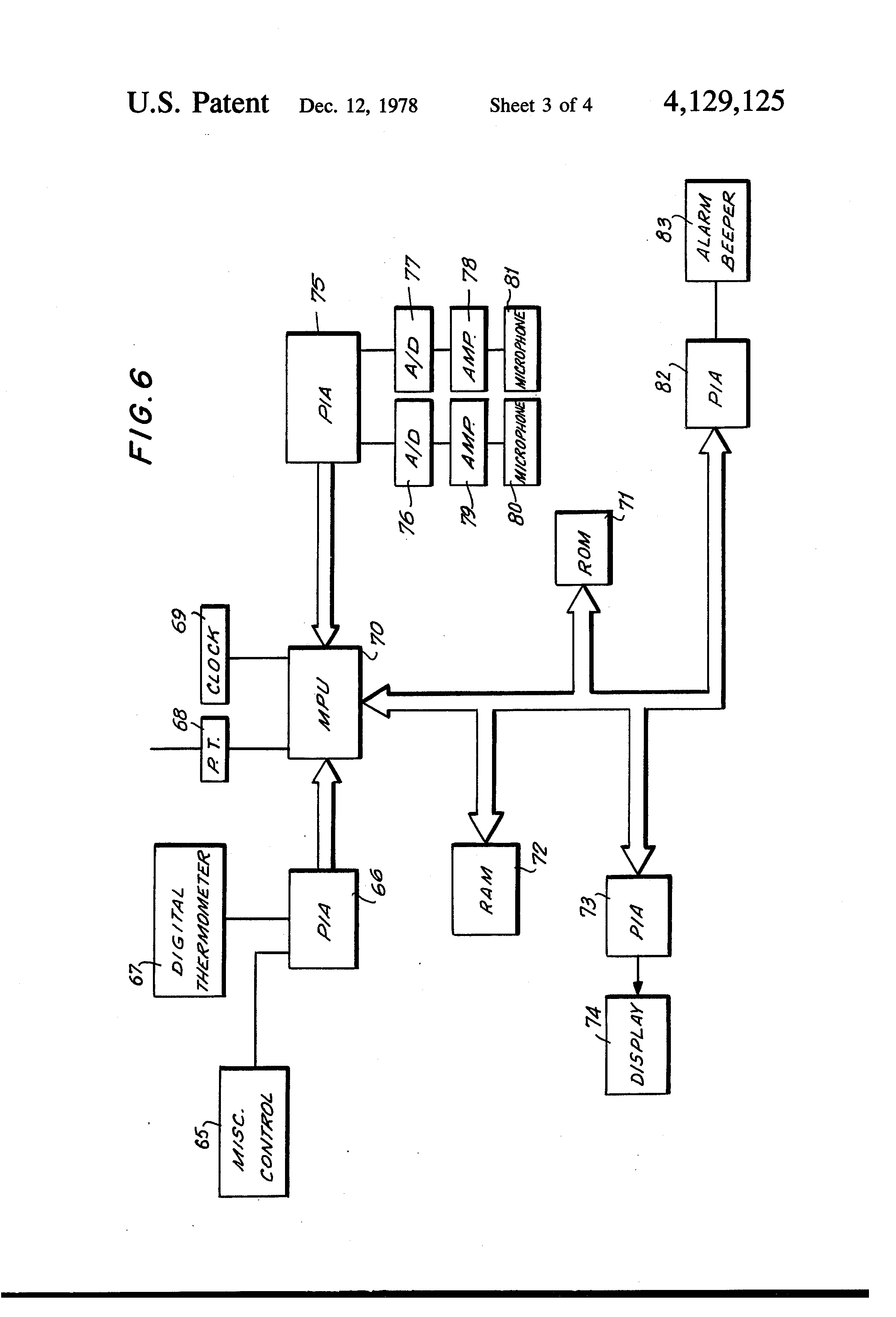 patent us4129125 - patient monitoring system
