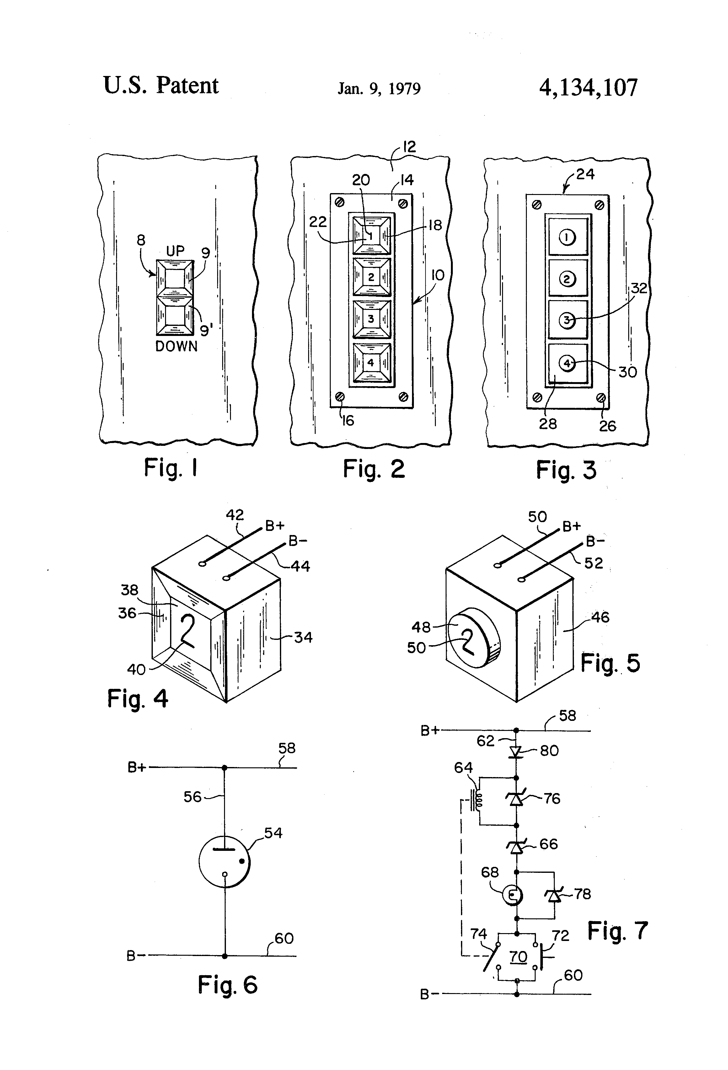 patent us4134107 - replacement elevator call button assembly