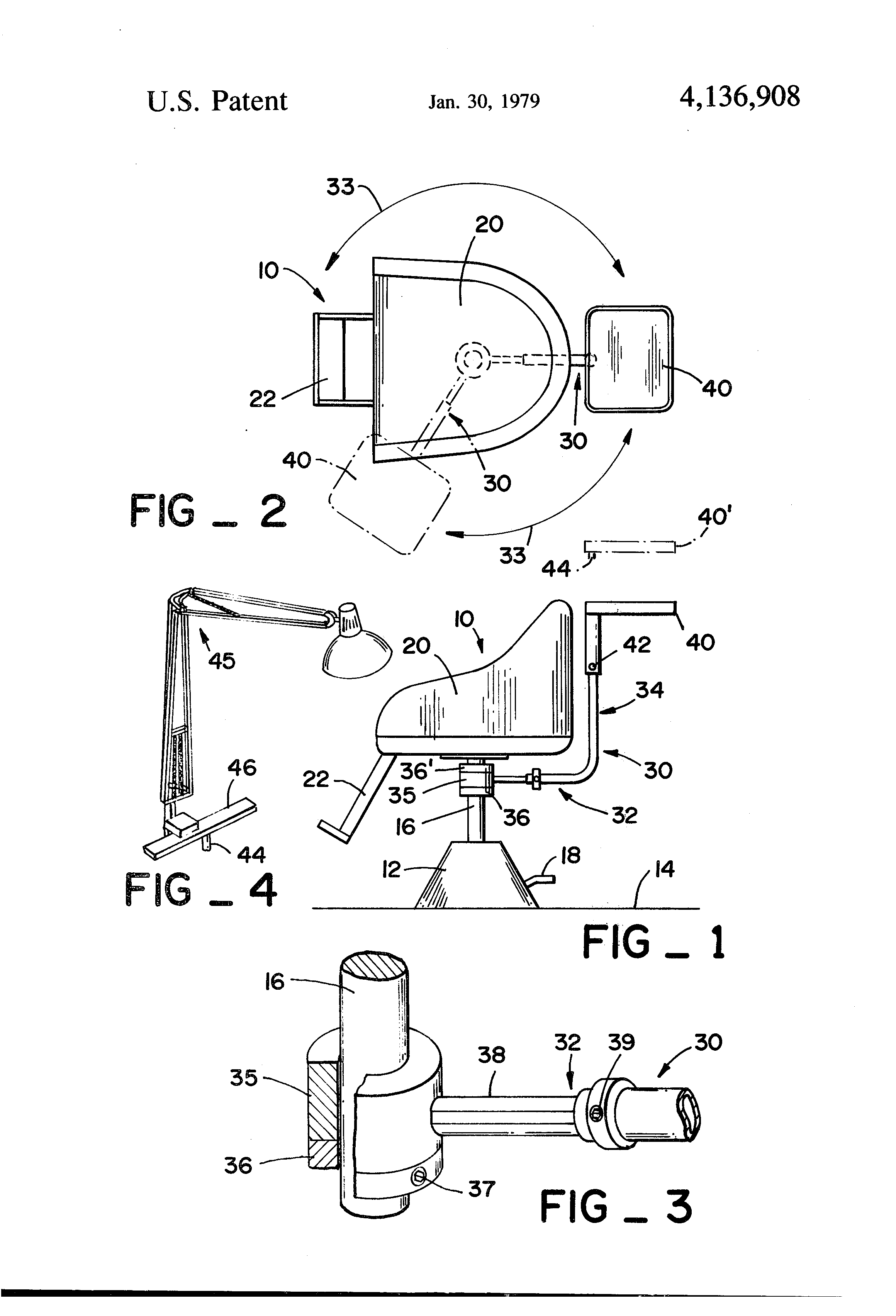 Hair cutting chair dimensions - Patent Drawing