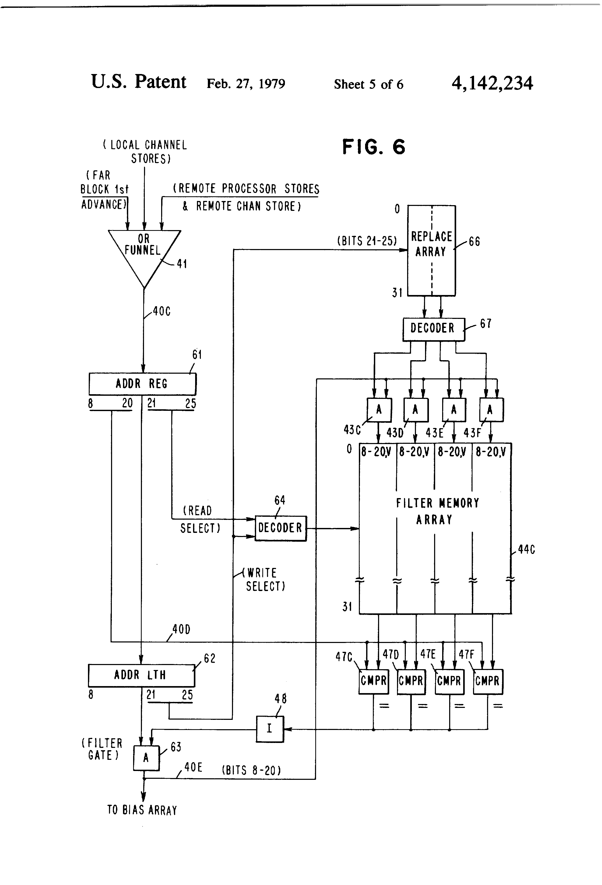 patent us4142234 bias filter memory for filtering out patent drawing
