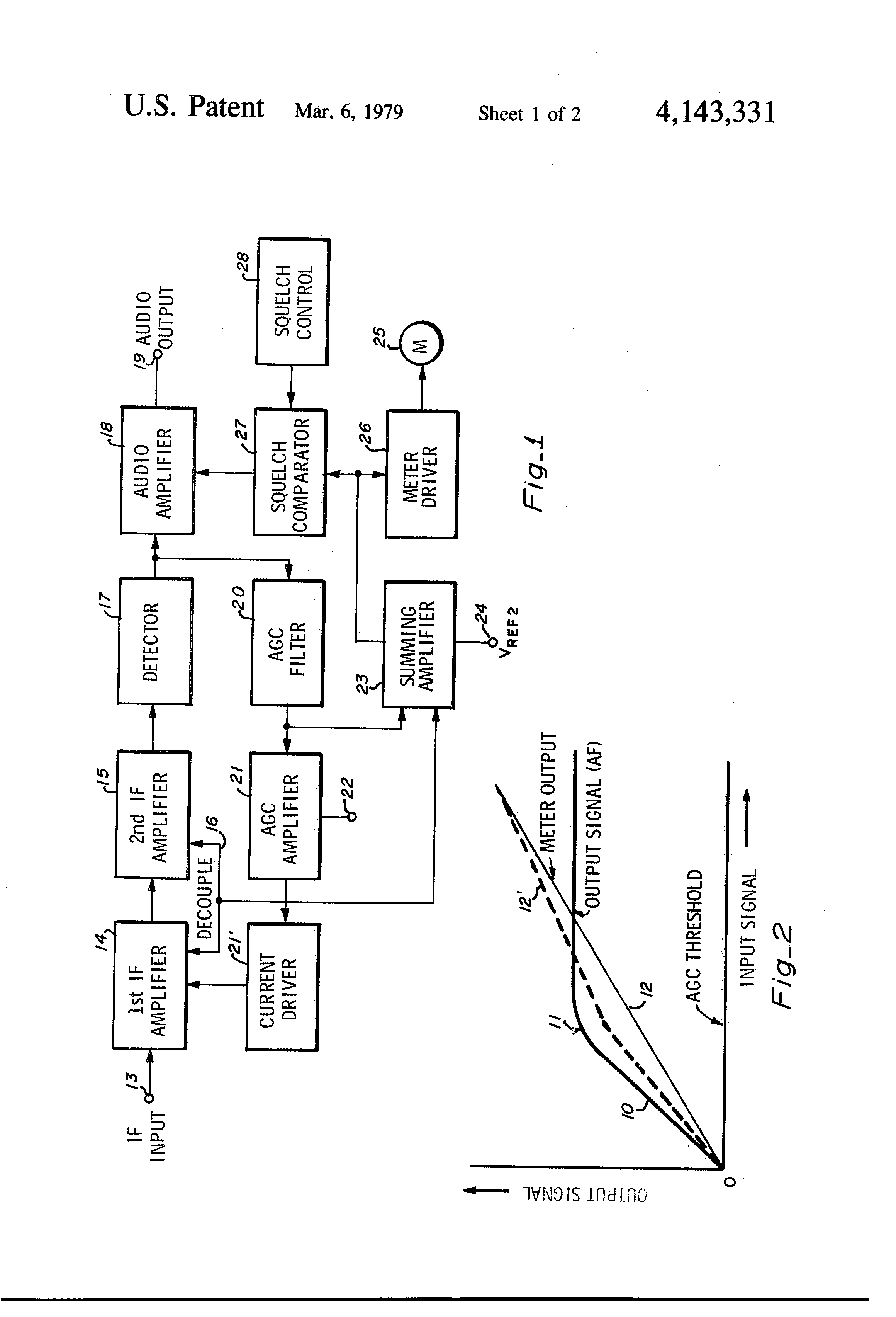 Patent Us4143331 Summing Amplifier For Developing A Squelch And Op Amp Drawing