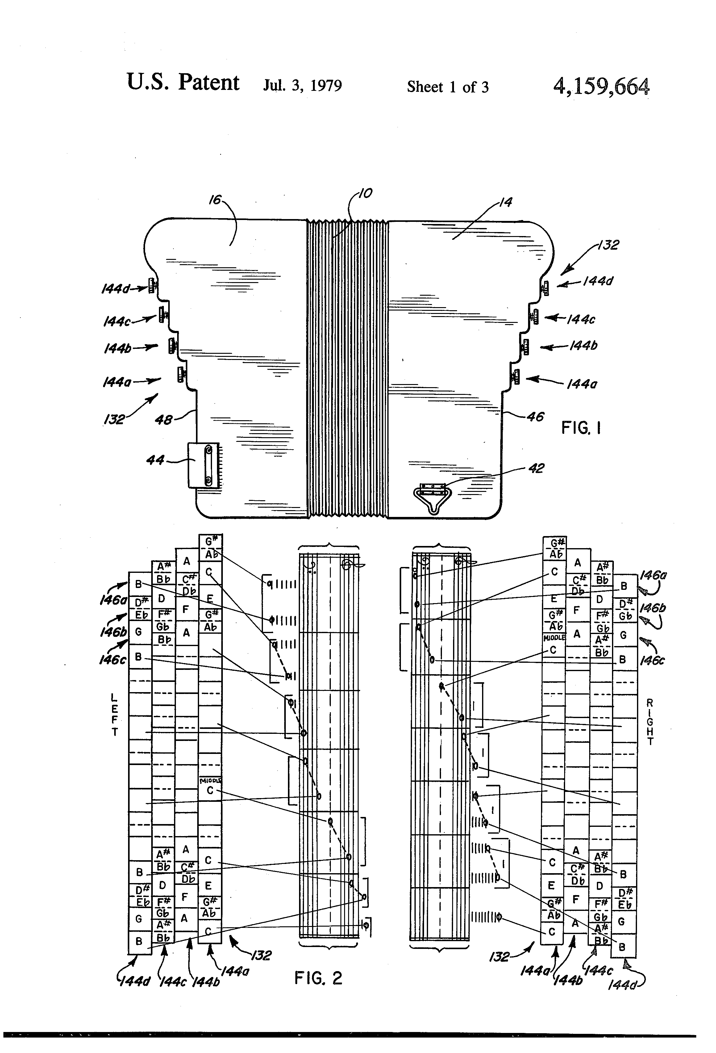 Patent US4159664 - Keyboard assembly for an accordion - Google Patents