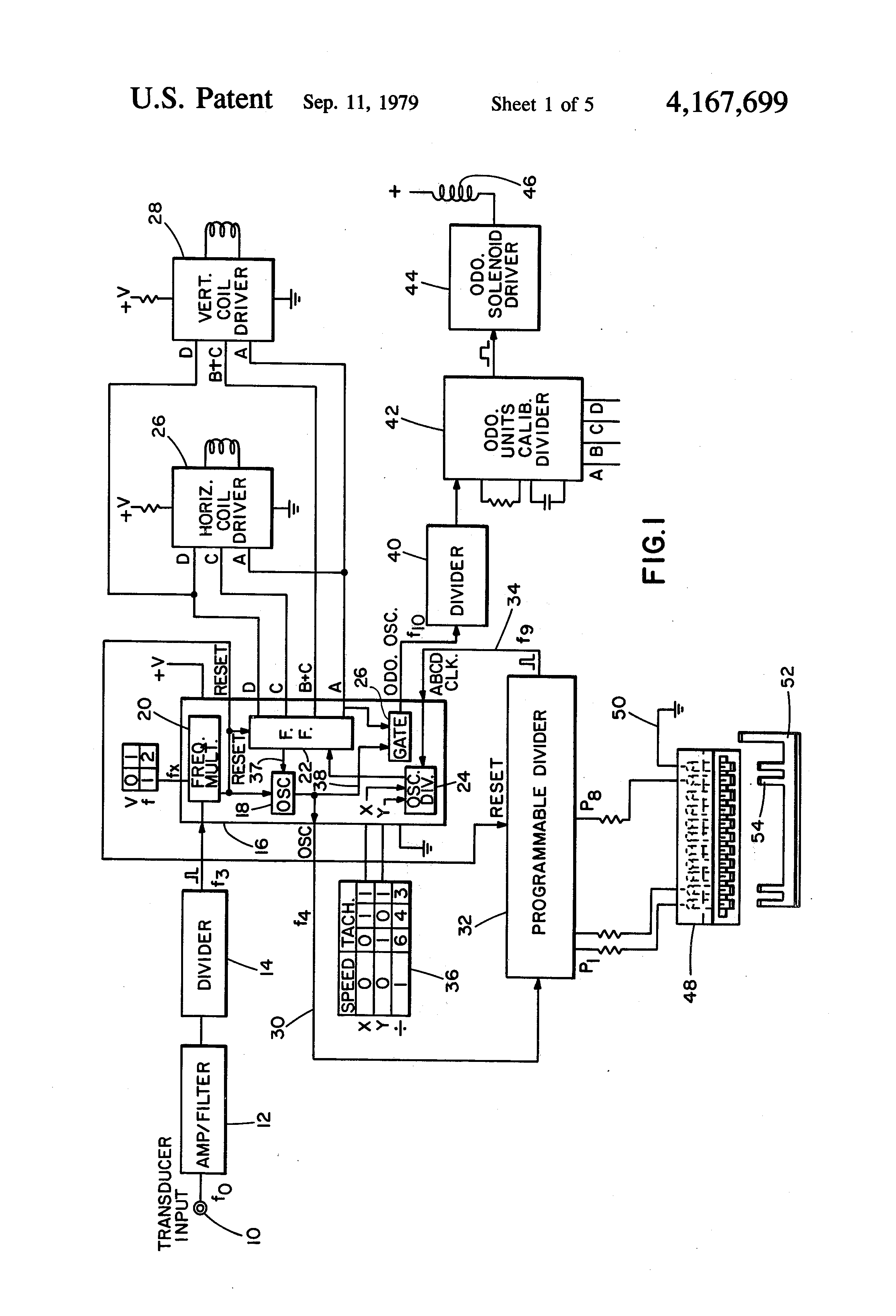 Patent Us4167699 User Calibrated Electronic Speedometer And Stewart Warner Diesel Tachometer Wiring Diagrams Drawing