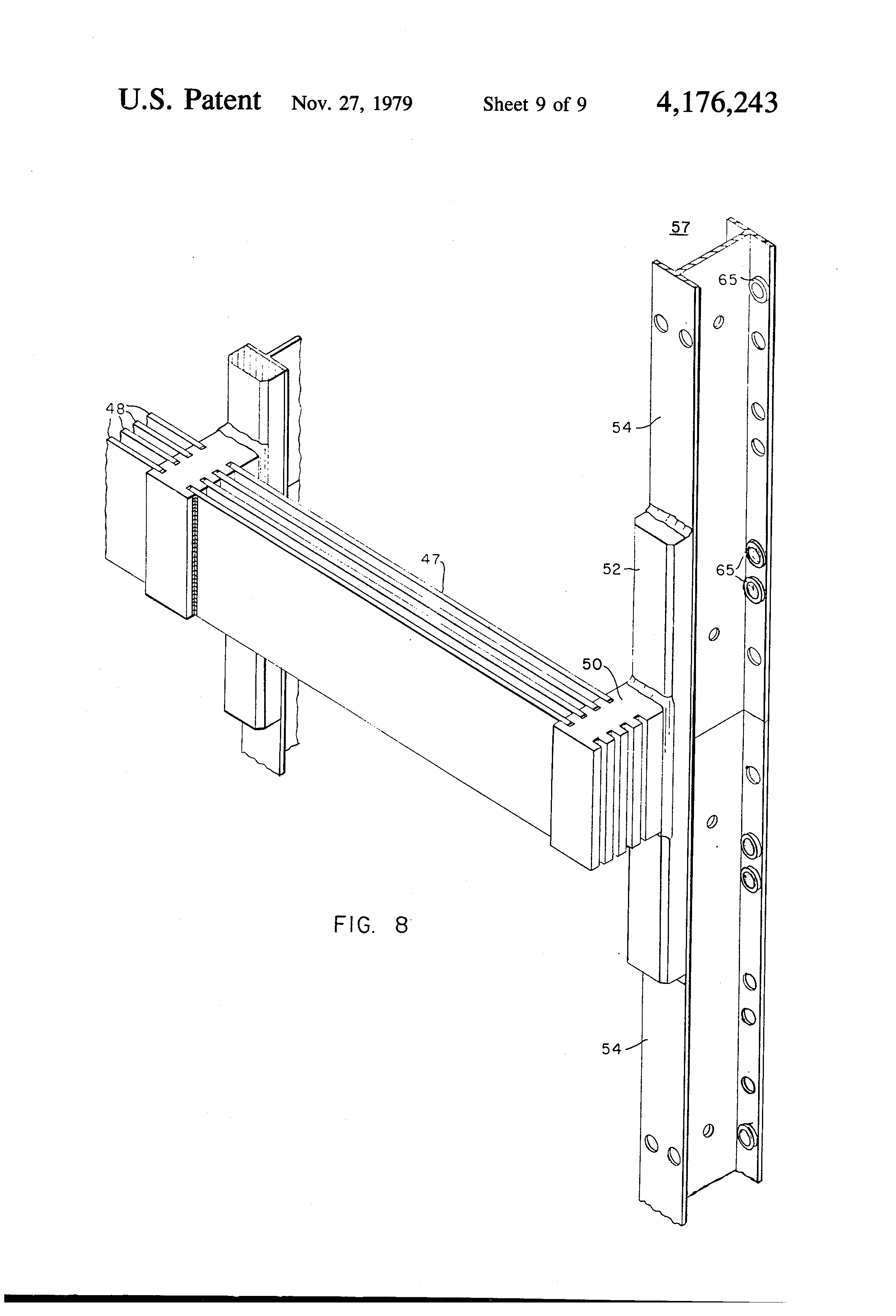 patent us4176243 - bus connector for welded electrical switchboard bus structure