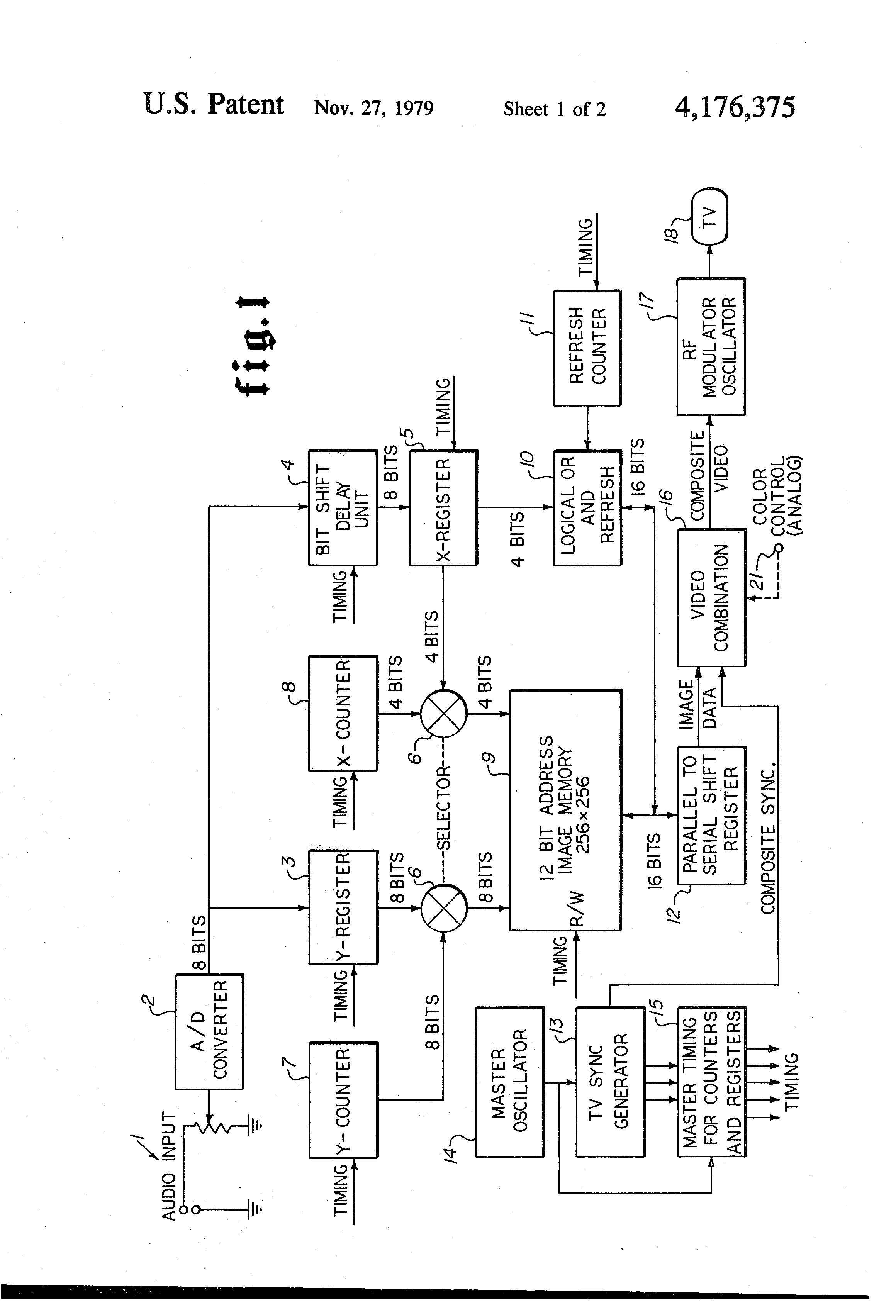 Patente Us4176375 Apparatus For Video Display Of Audio Frequency The Oscillator With Variety Analog Sounds Oscillatorcircuit Patent Drawing