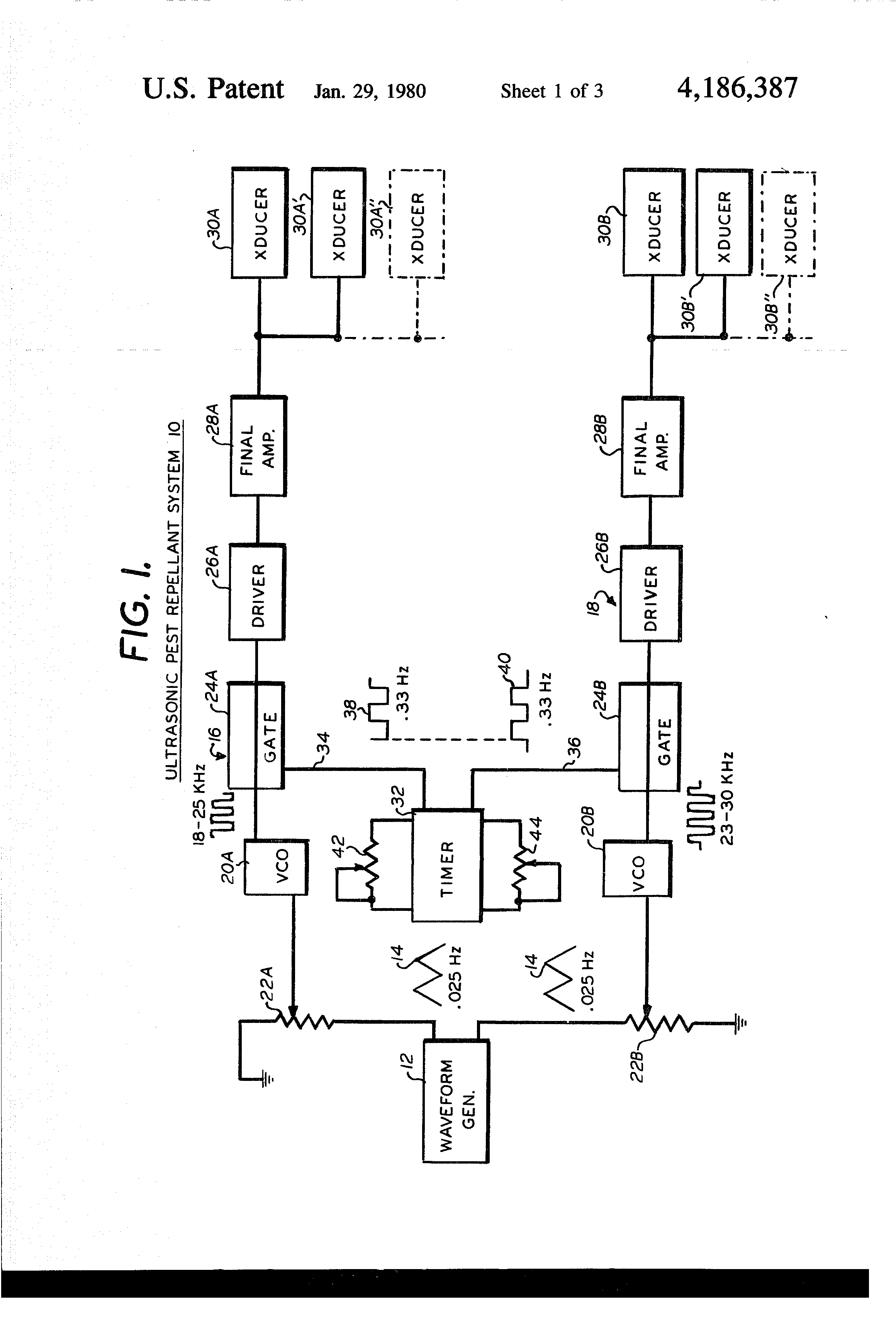 Patent Us4186387 Ultrasonic Pest Repellent Method And System Repeller Circuit Drawing