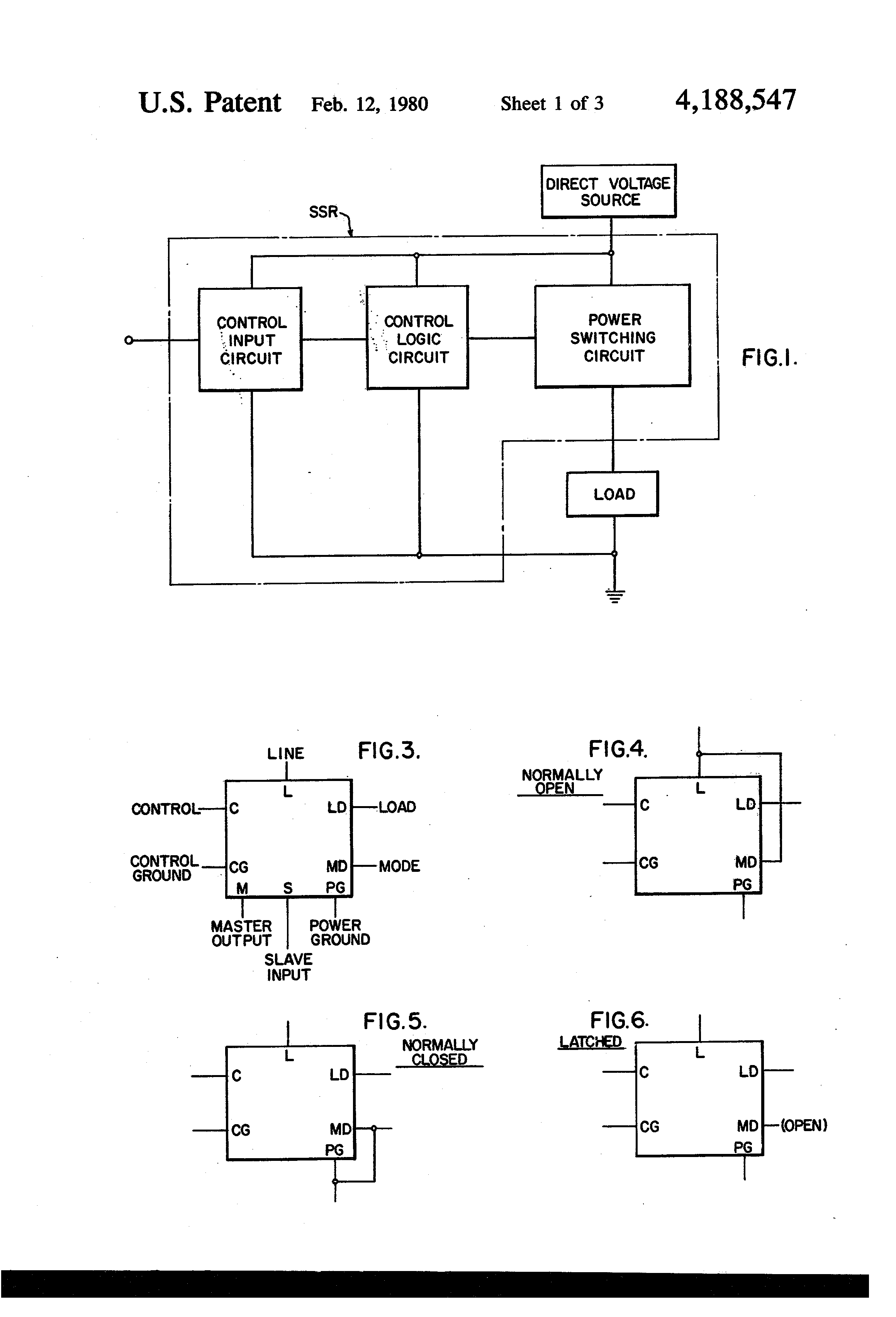 Patent Us4188547 Multi Mode Control Logic Circuit For Solid State Relay Drawing
