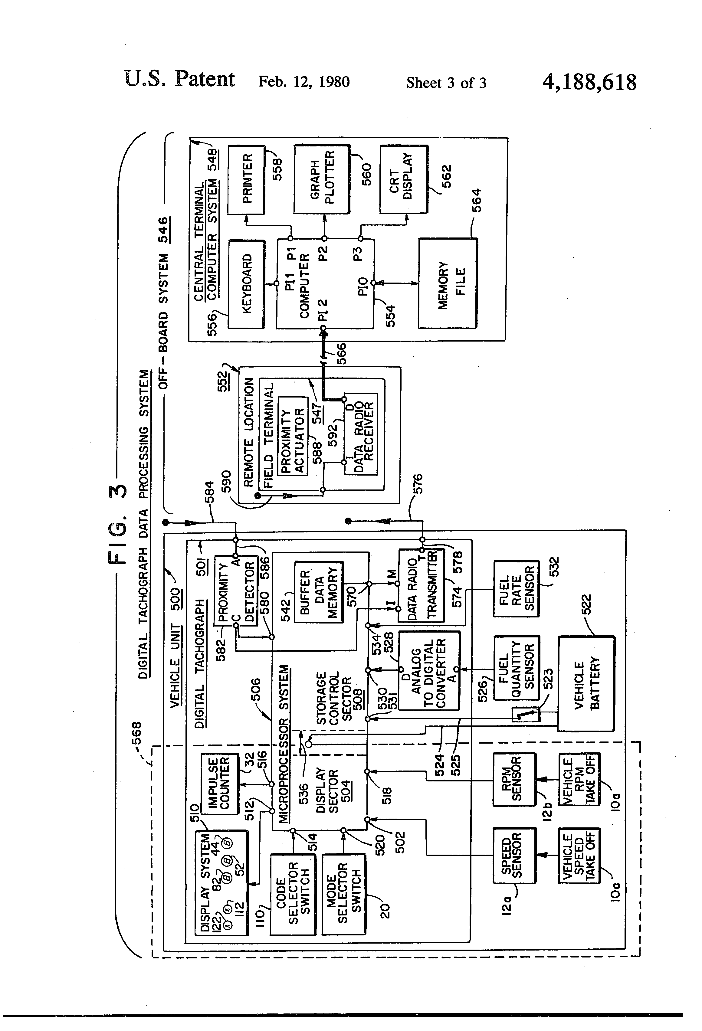 US4188618 3 patent us4188618 digital tachograph system with digital memory tachograph wiring diagram at soozxer.org