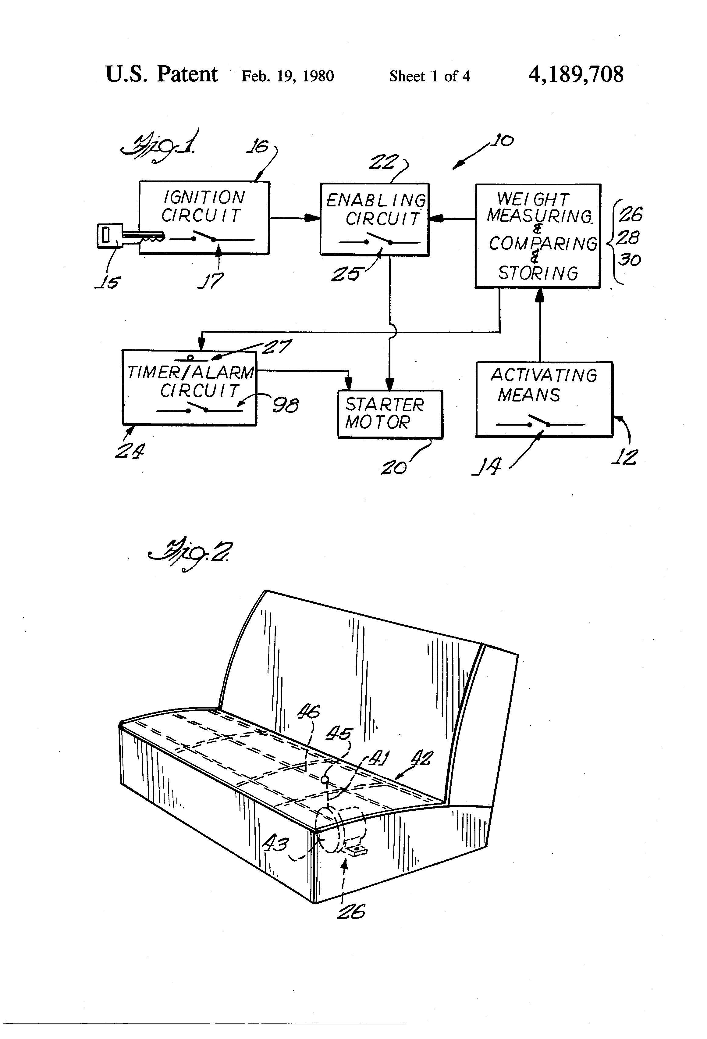 Patent Us4189708 Method And Apparatus For Controlling Access To A Selective Timer Alarm Drawing