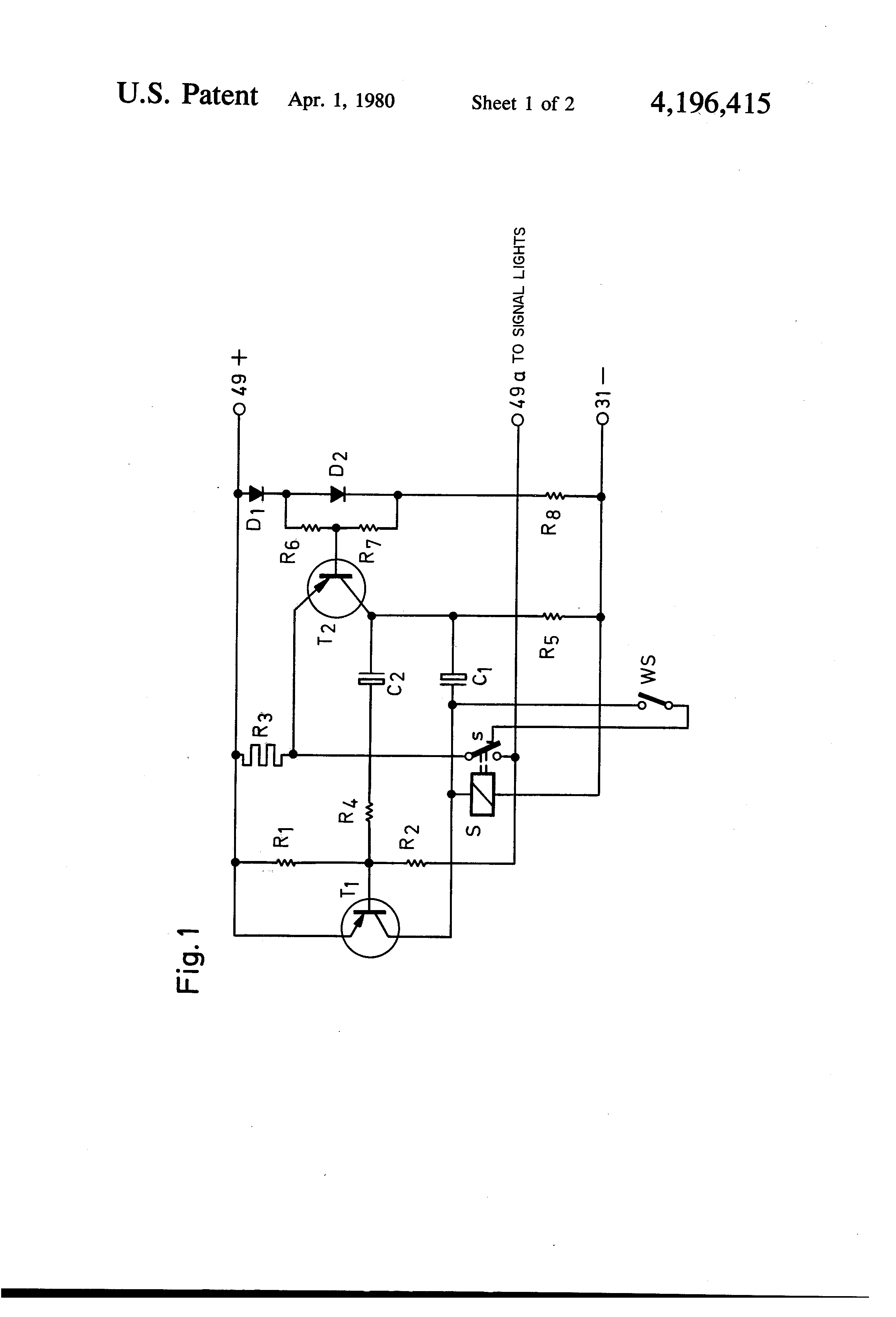 Directional Flasher Relay Wiring Diagram Diagrams 3 Prong Patent Us4196415 Automotive Turn Signal Unit