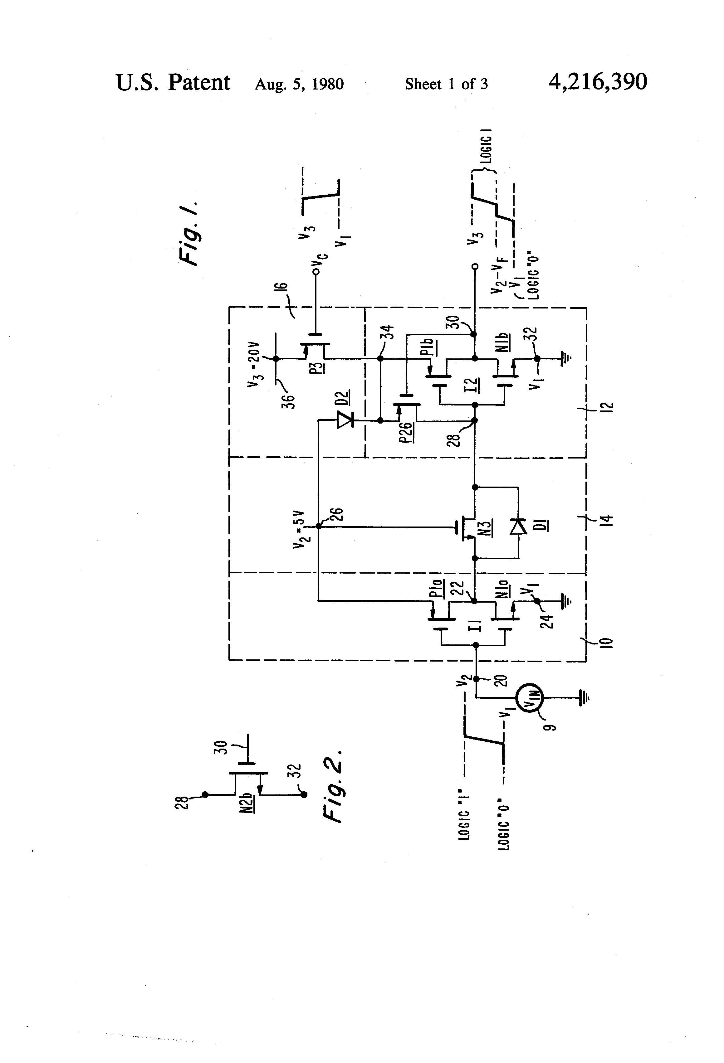 Patent Us4216390 Level Shift Circuit Google Patents Figure 1 Diagram For Shifter Drawing