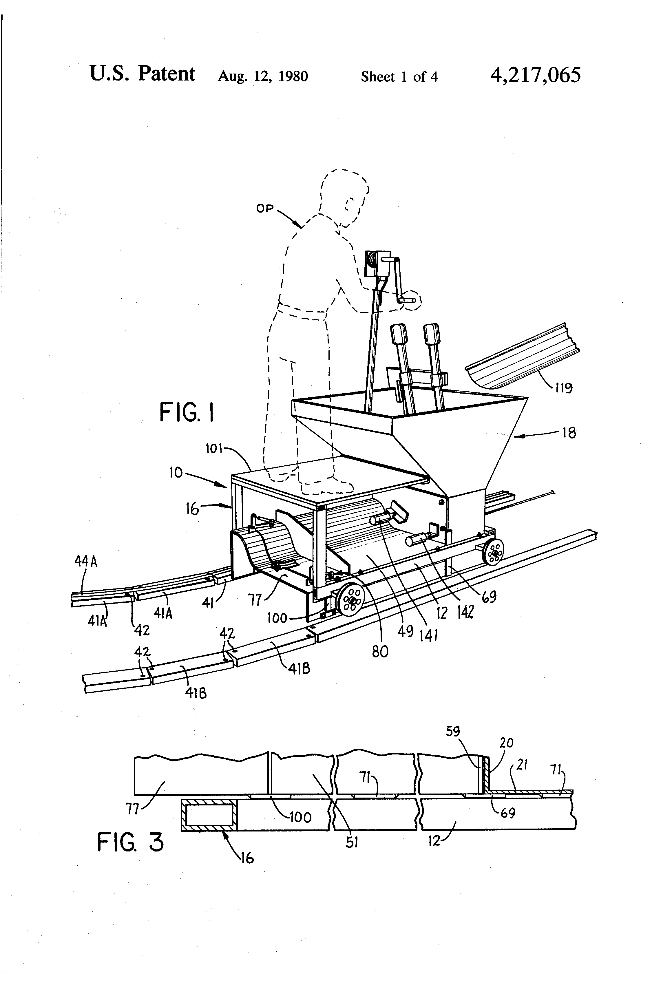Patent Us4217065 Slip Form Curb And Gutter Machine