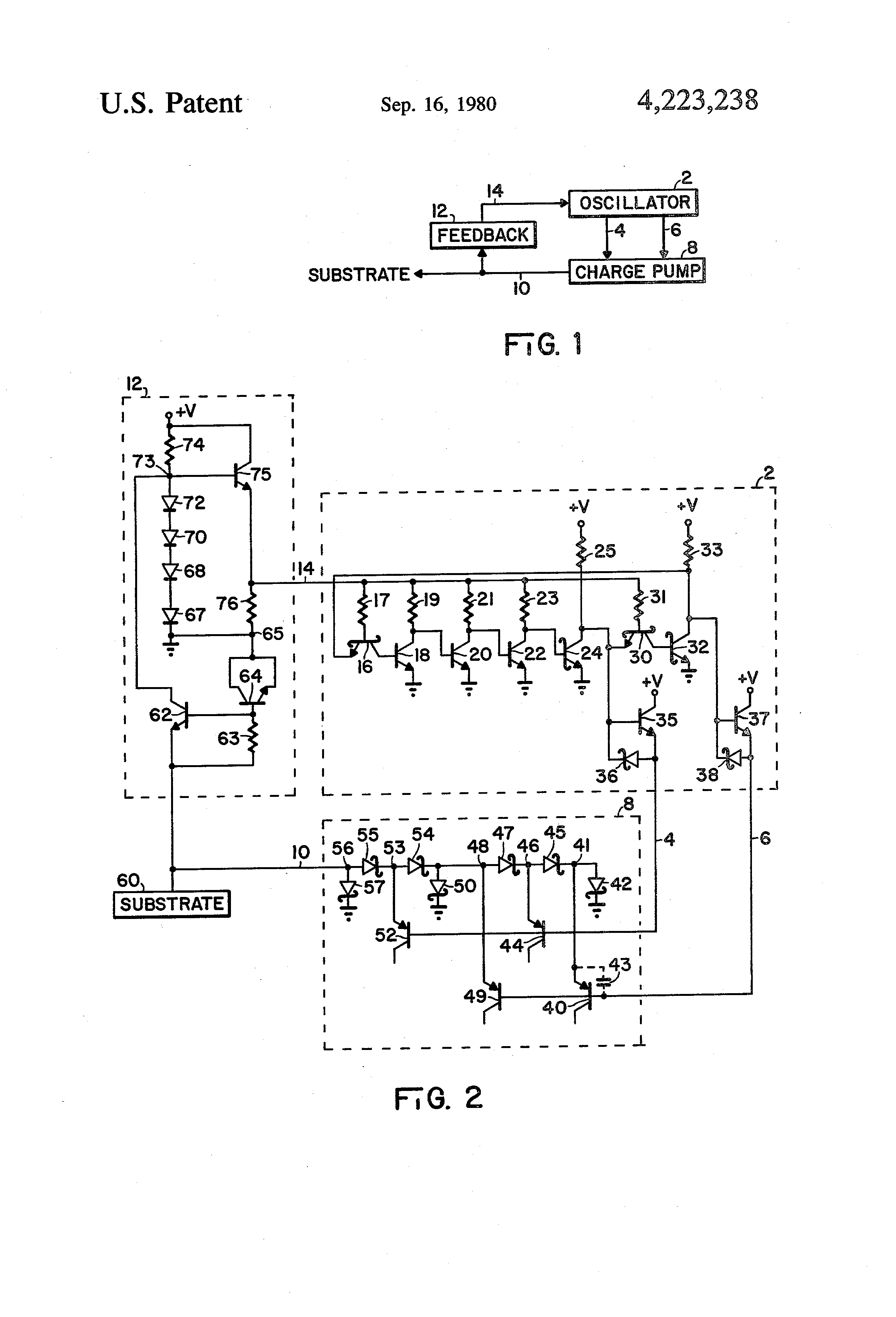 Patent Us4223238 Integrated Circuit Substrate Charge Pump Google Voltage Multiplier With Diodes And Capacitors Drawing