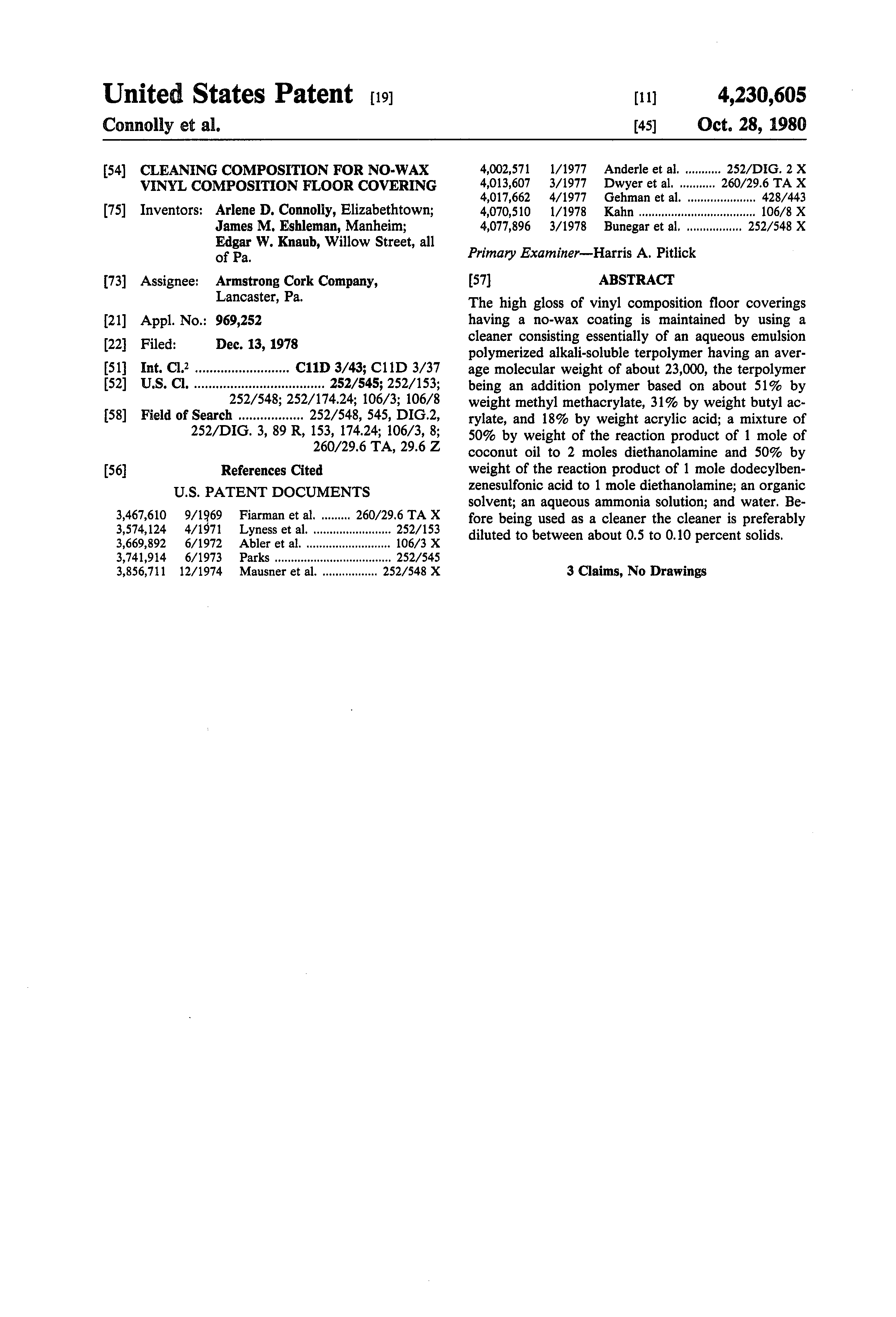Patent Us4230605 Cleaning Composition For No Wax Vinyl