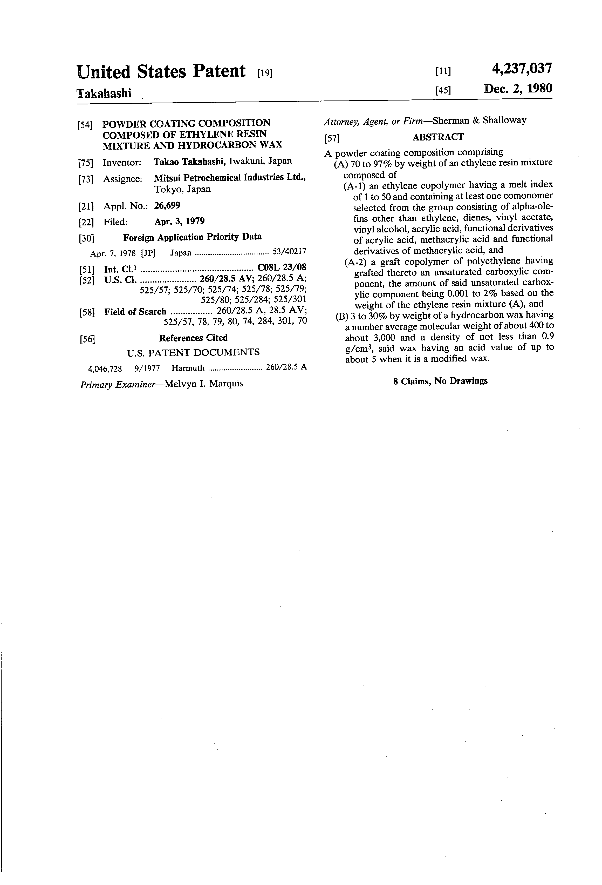 Brevetto Us4237037 Powder Coating Composition Composed