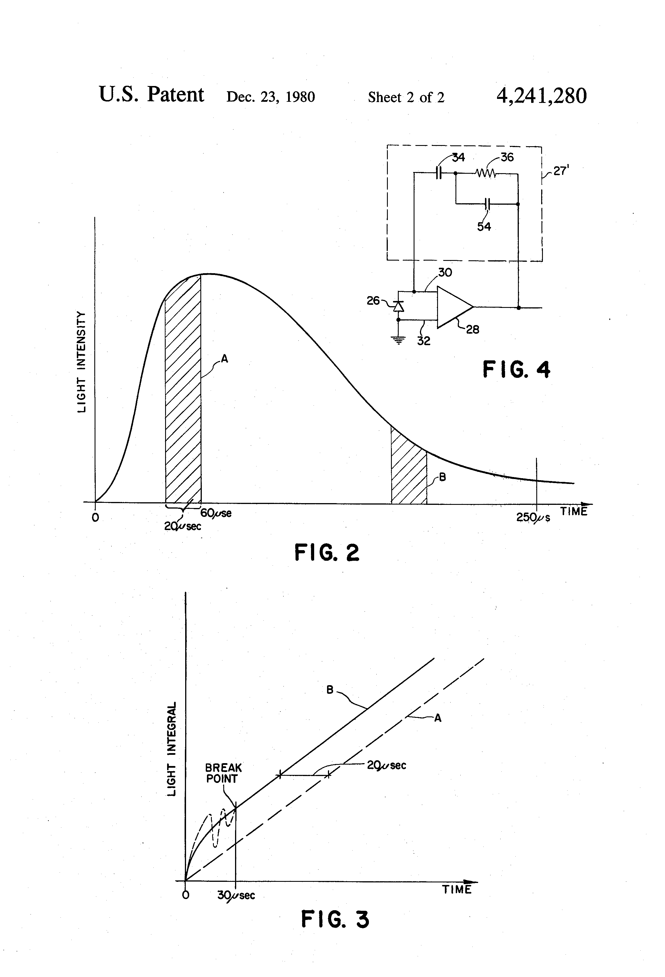 Patent Us4241280 Light Integrator Circuit With Built In Op Amp Drawing