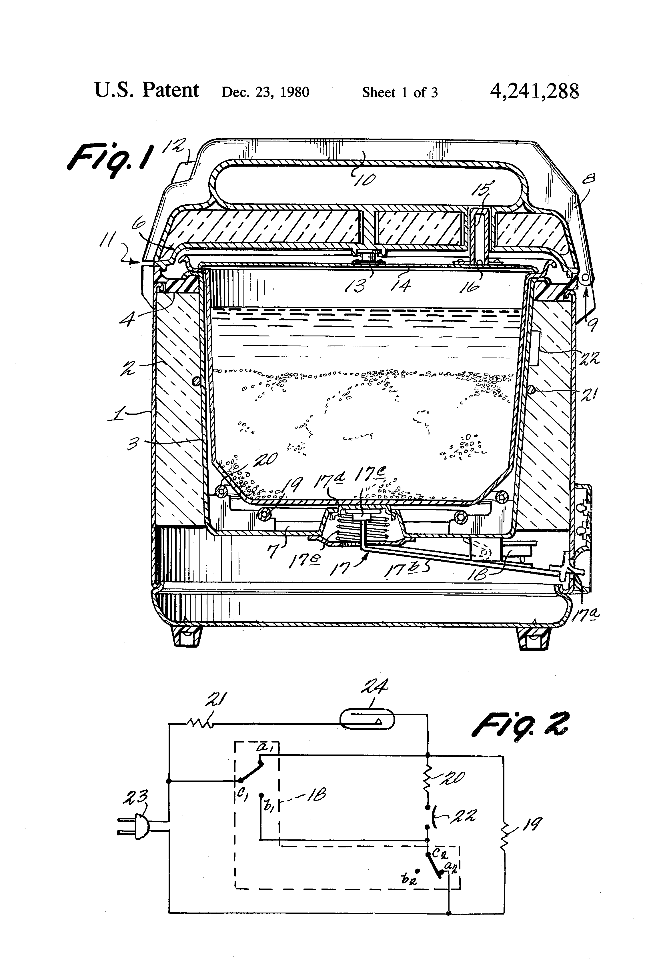 patent us4241288 - electric rice cooker with two heaters
