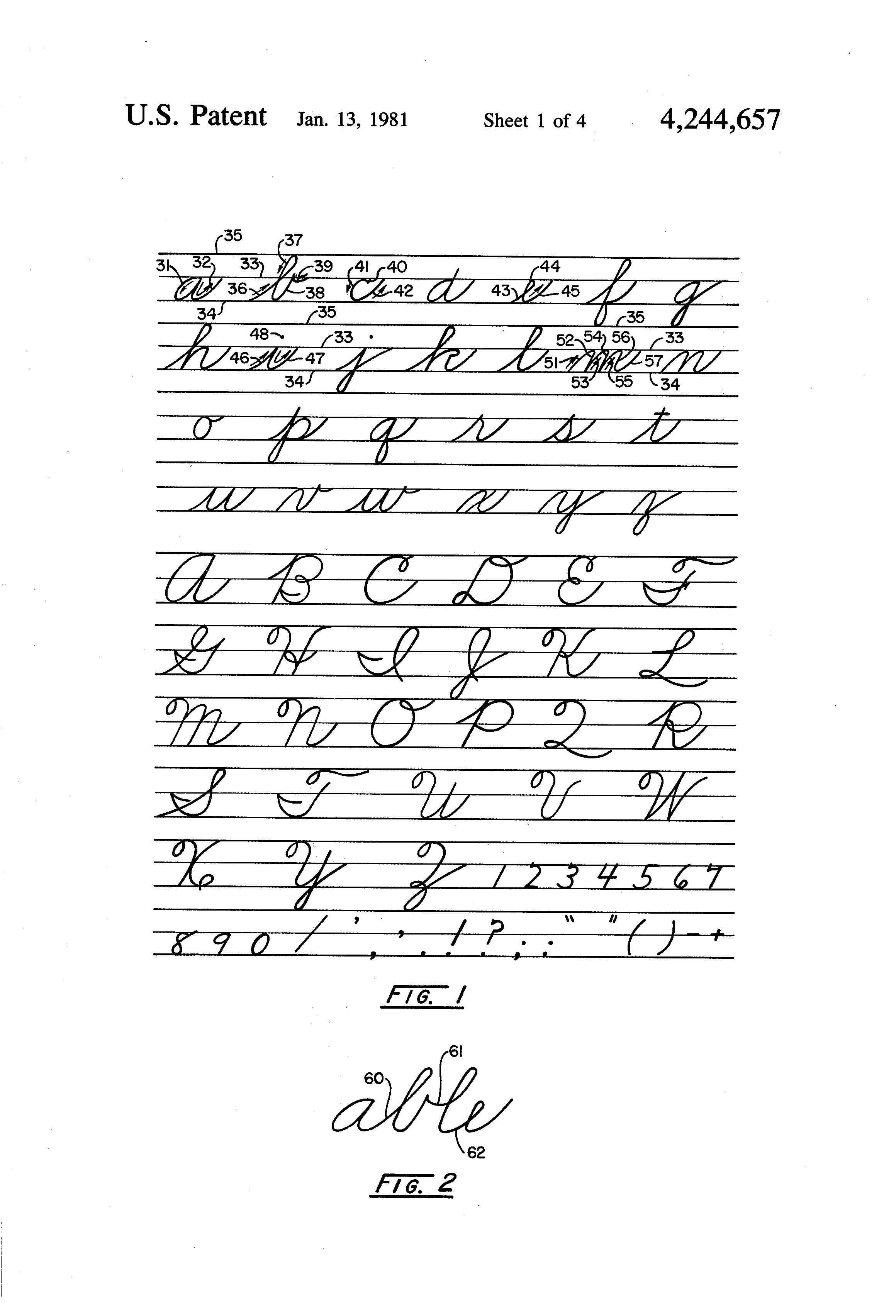 patent us4244657 font and method for printing cursive script