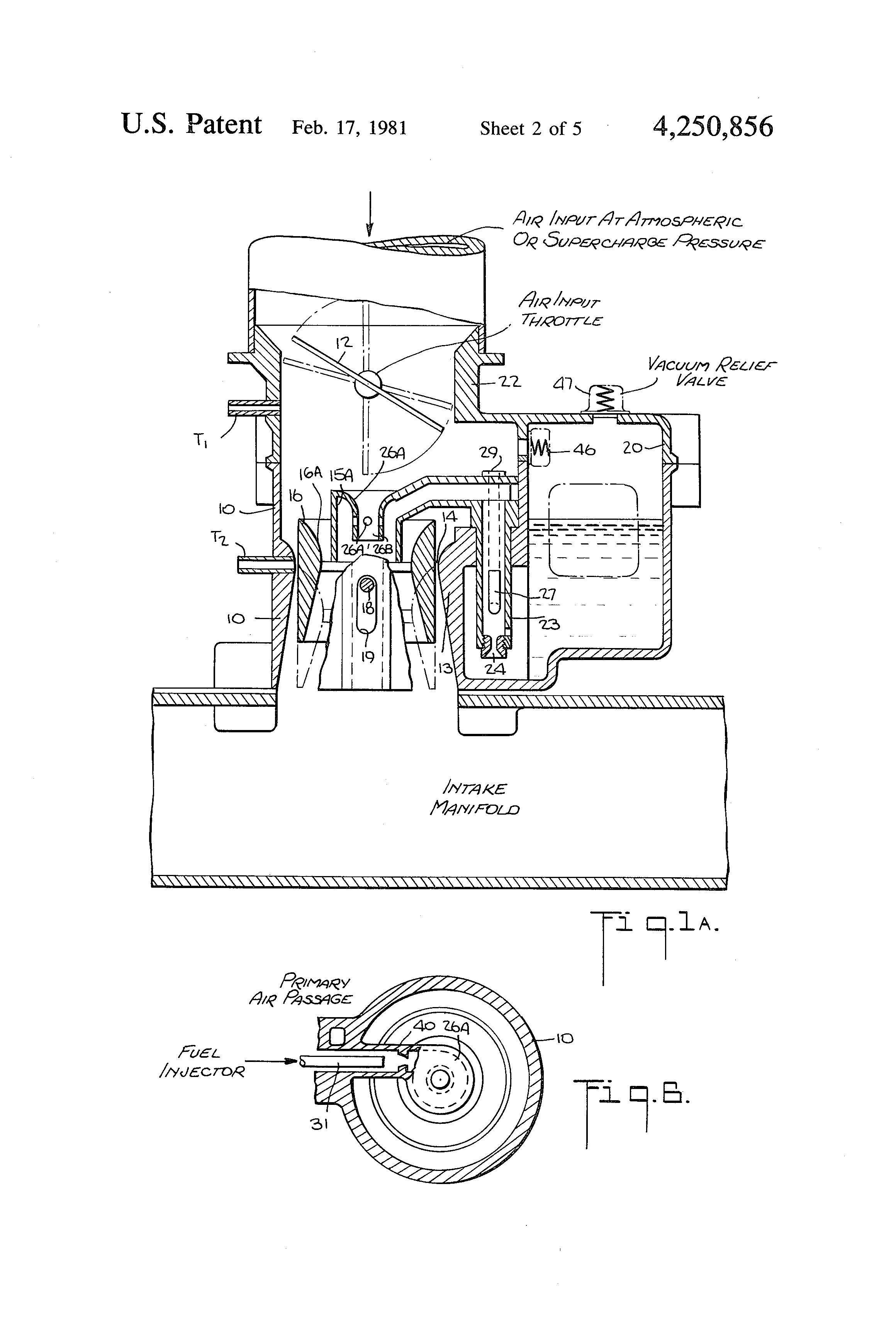 Patente Us4250856 Fuel Air Ratio Automatic Control System Using Zenith Stromberg Carburetor Parts Diagram Besides Patent Drawing