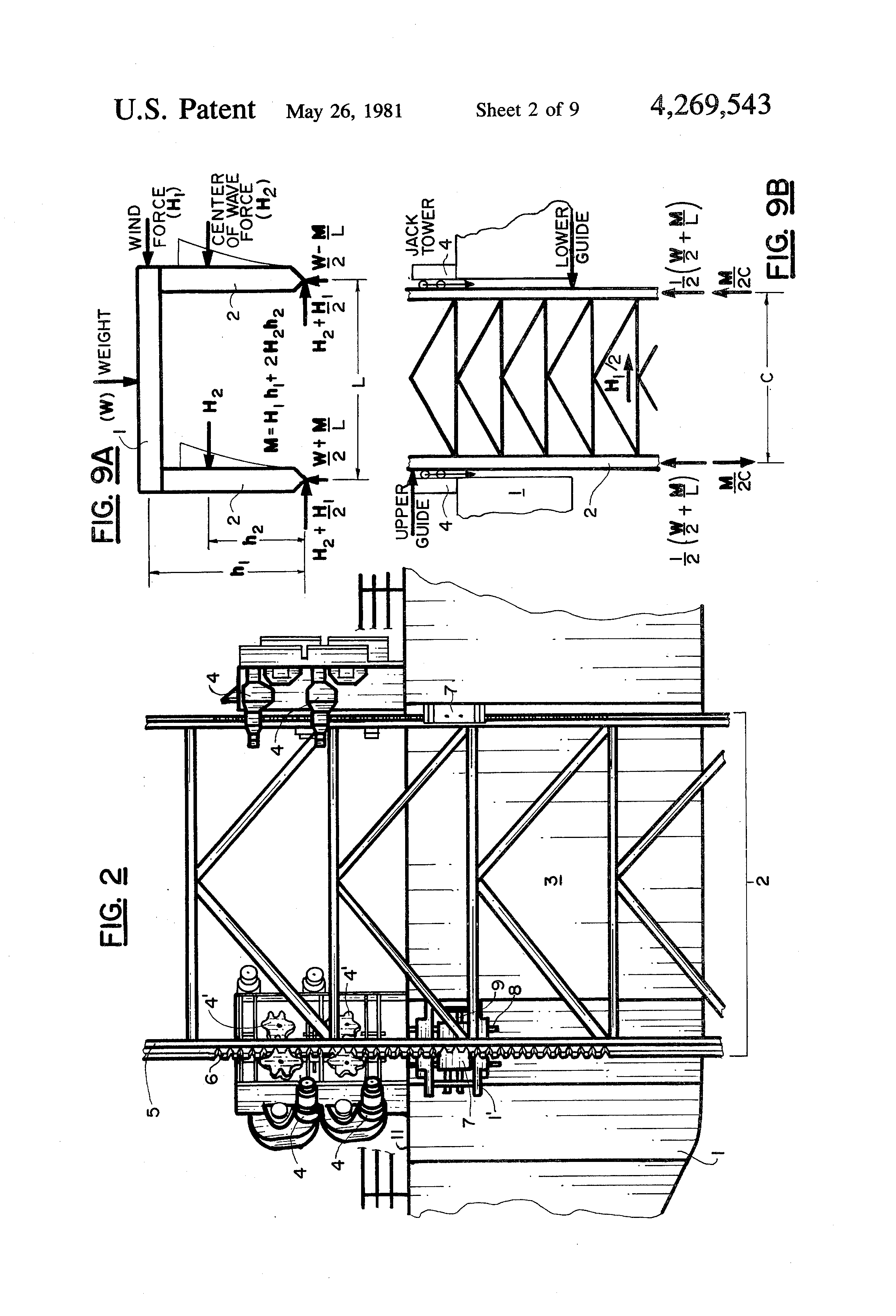 Patent Us4269543 Mobile Offshore Self Elevating Jack