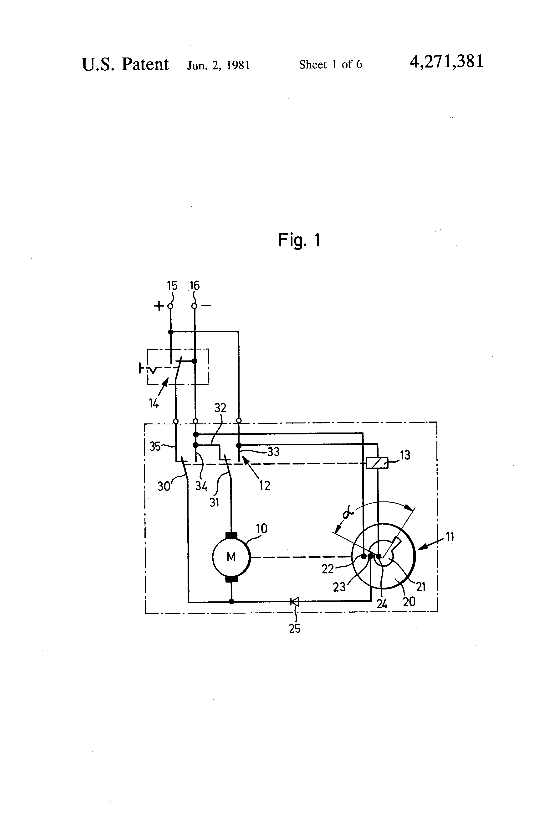 patent us4271381 - windshield wiper motor circuit