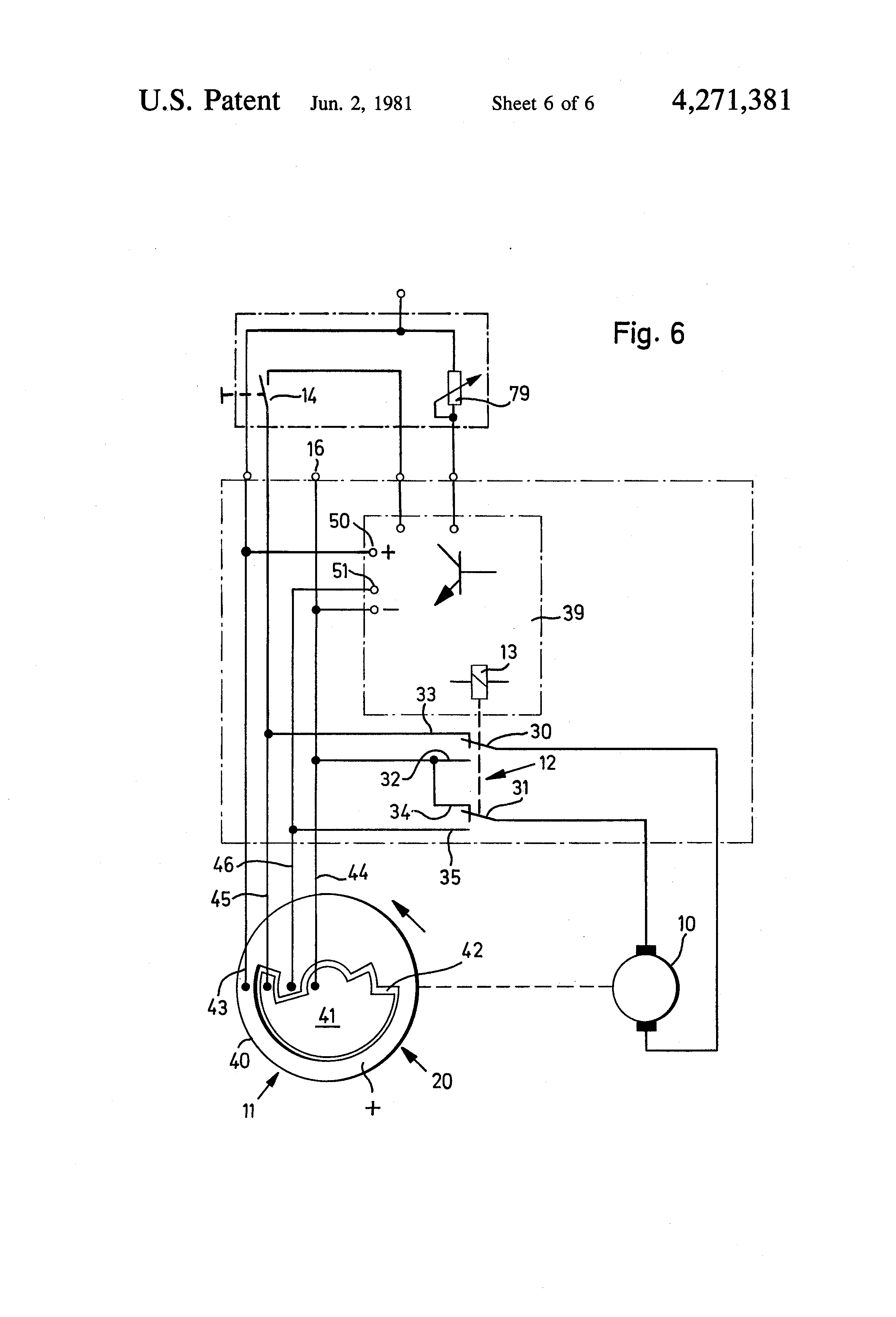 patent us4271381 - windshield wiper motor circuit
