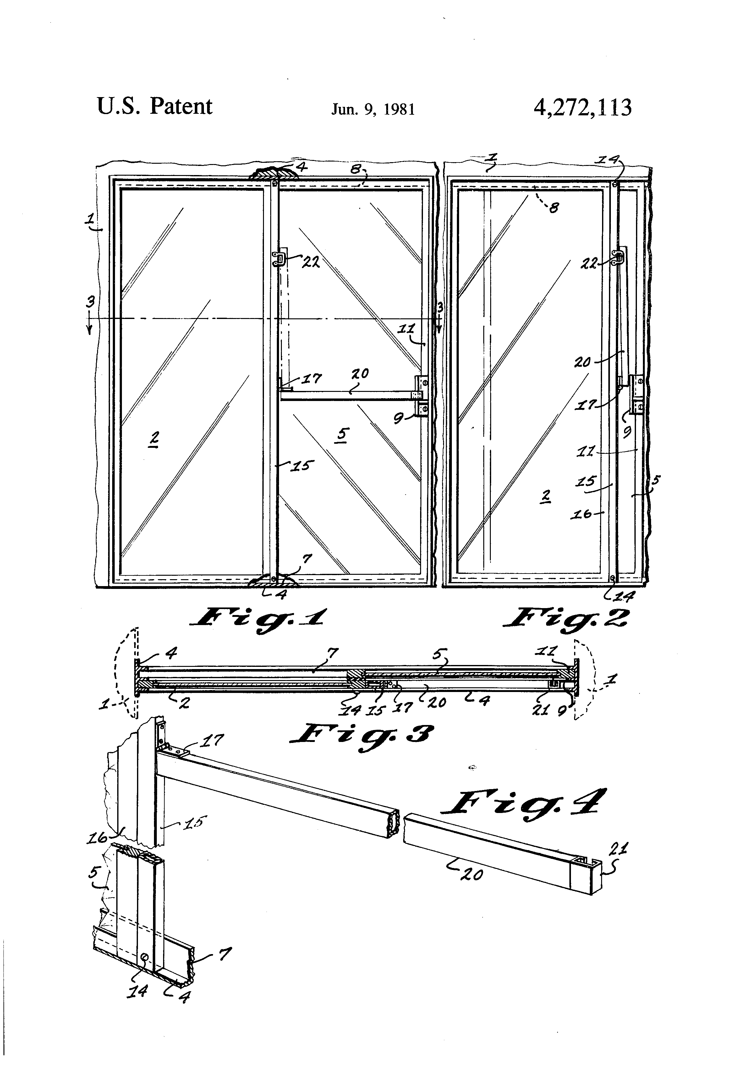 Patent Us4272113 Sliding Door Safety Bar Google Patents