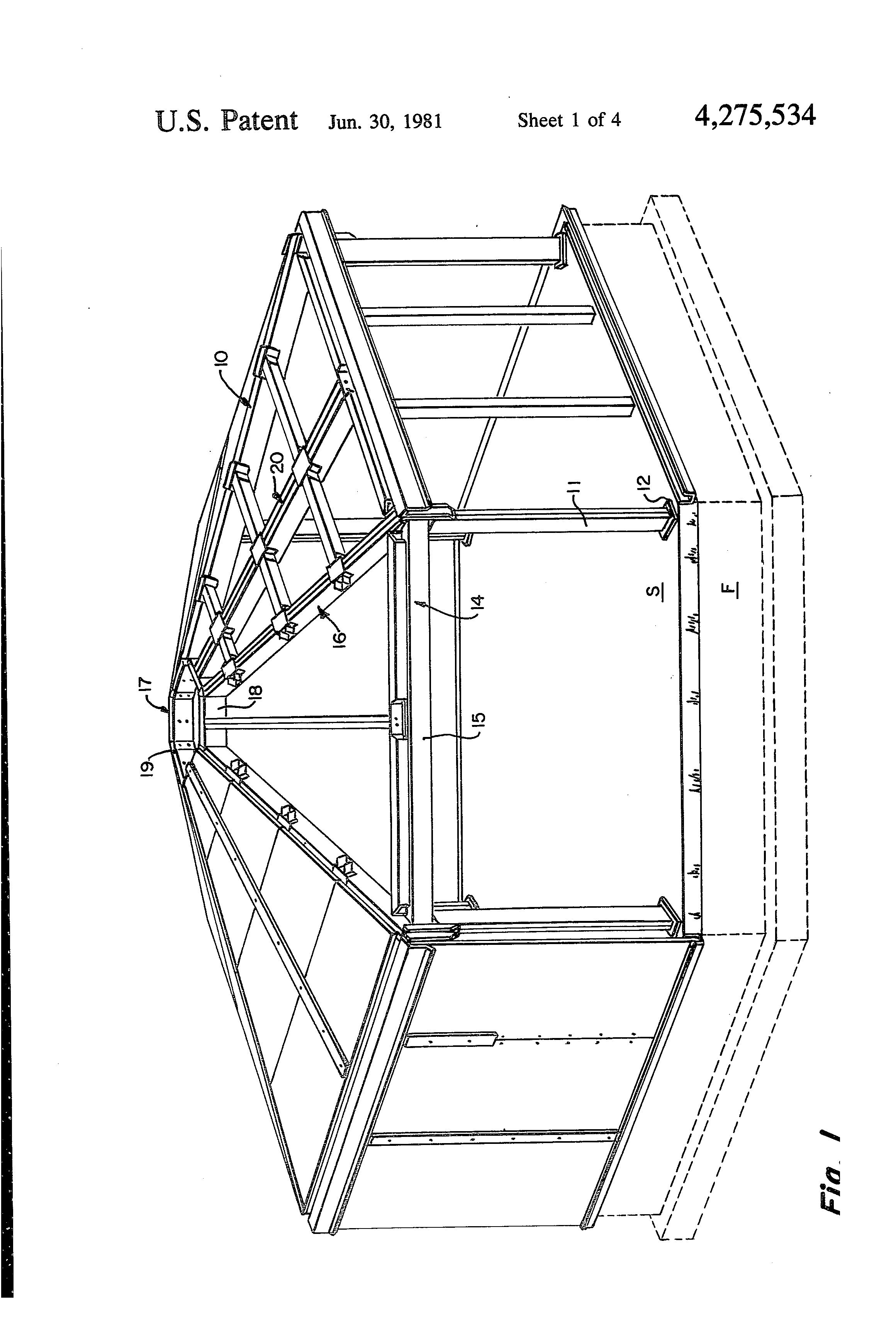 Patent us4275534 hexagonal building structures google for Hexagonal roof framing