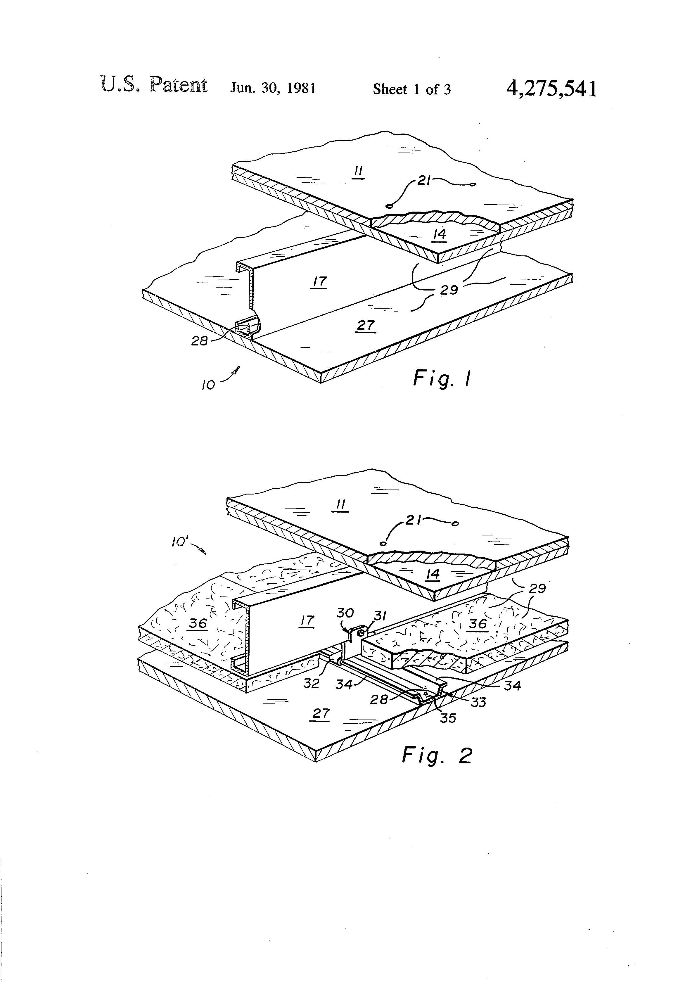 Patent us4275541 fire resistant floor and ceiling for 1 hour floor ceiling assembly