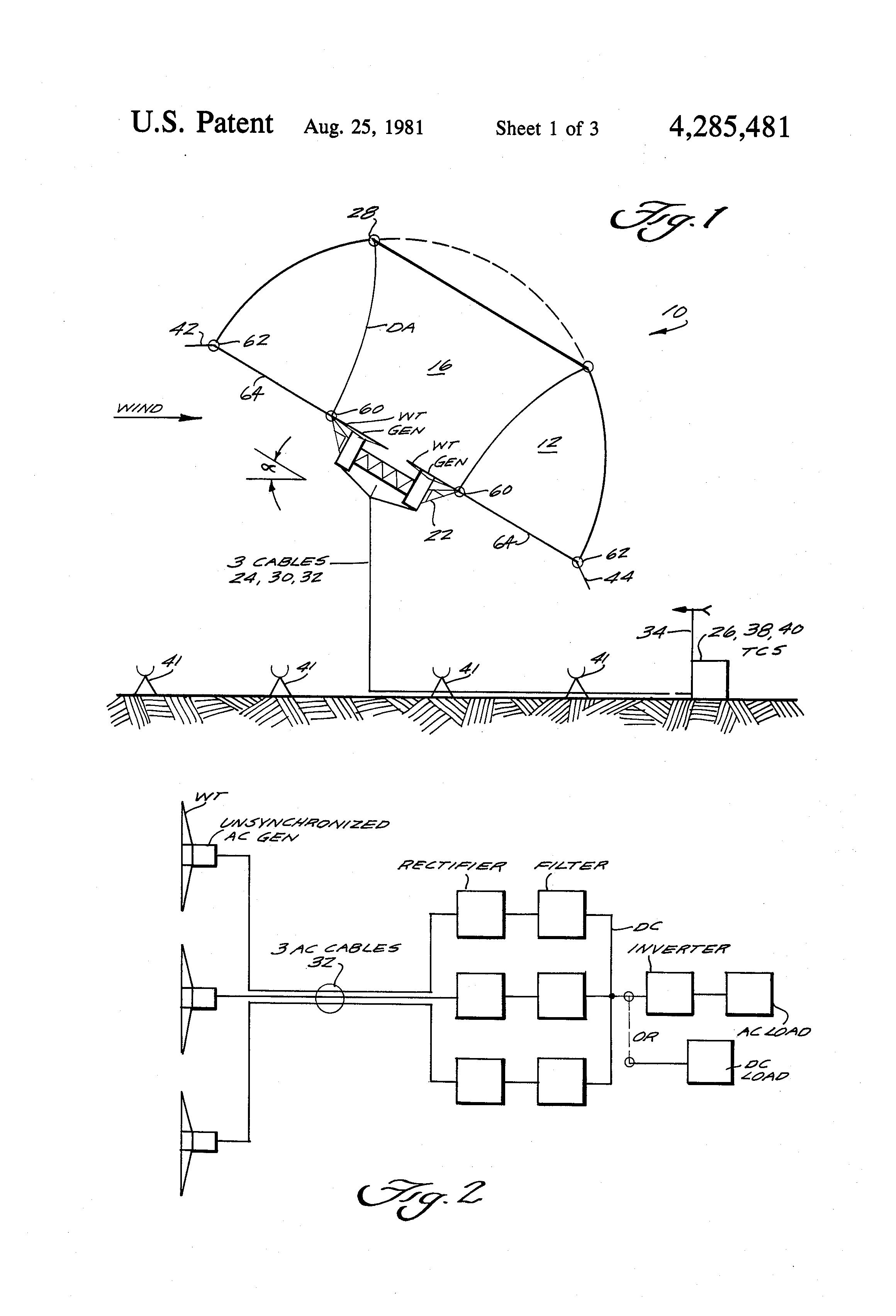 Patent US Multiple wind turbine tethered airfoil wind