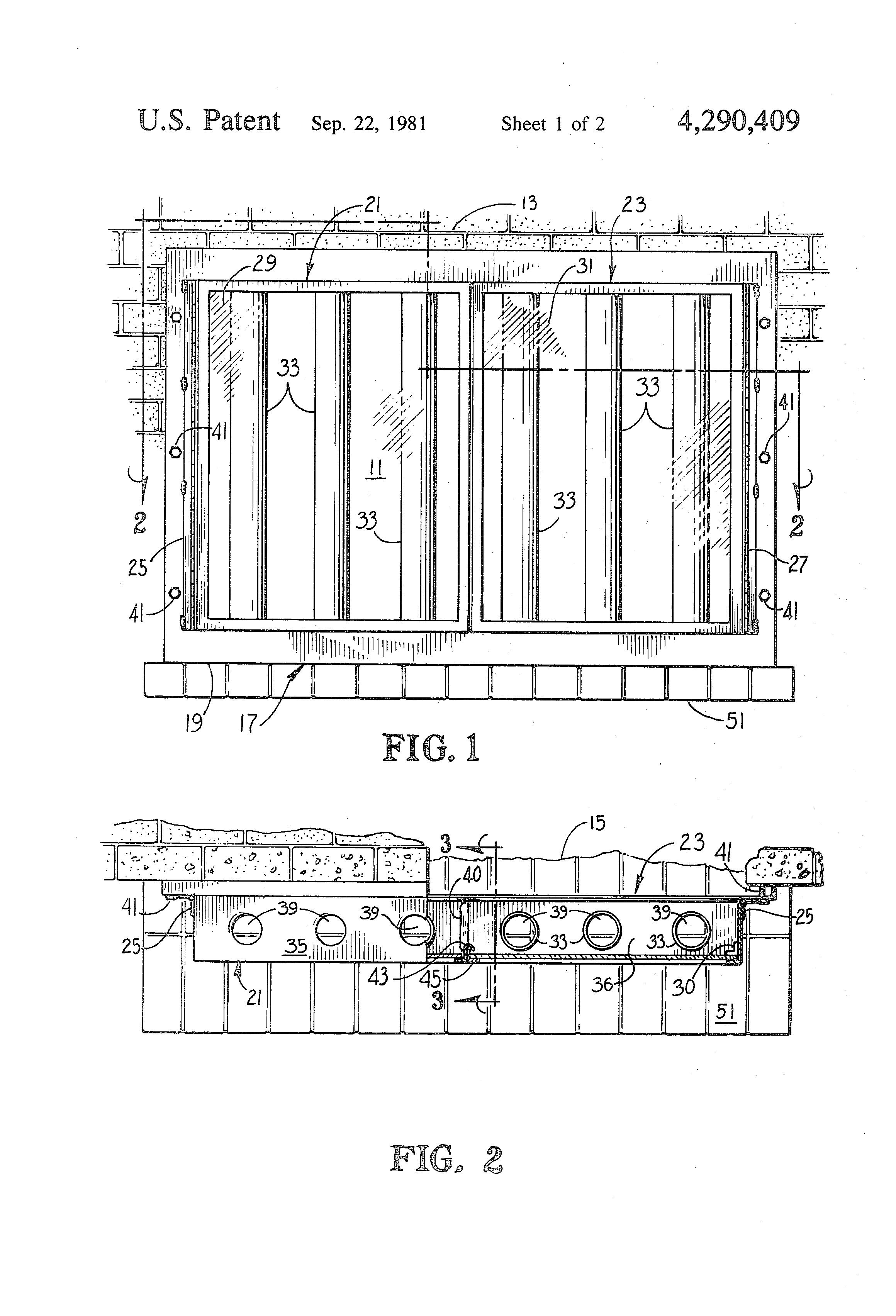 patent us4290409 fireplace glass door with heat circulator