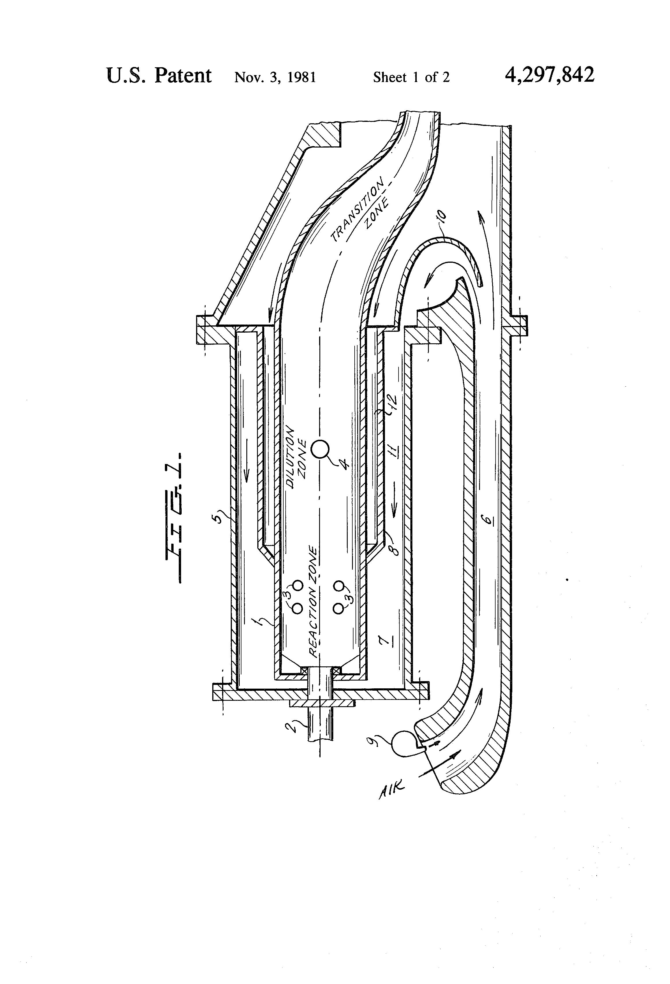 Patent US NOx suppressant stationary gas turbine
