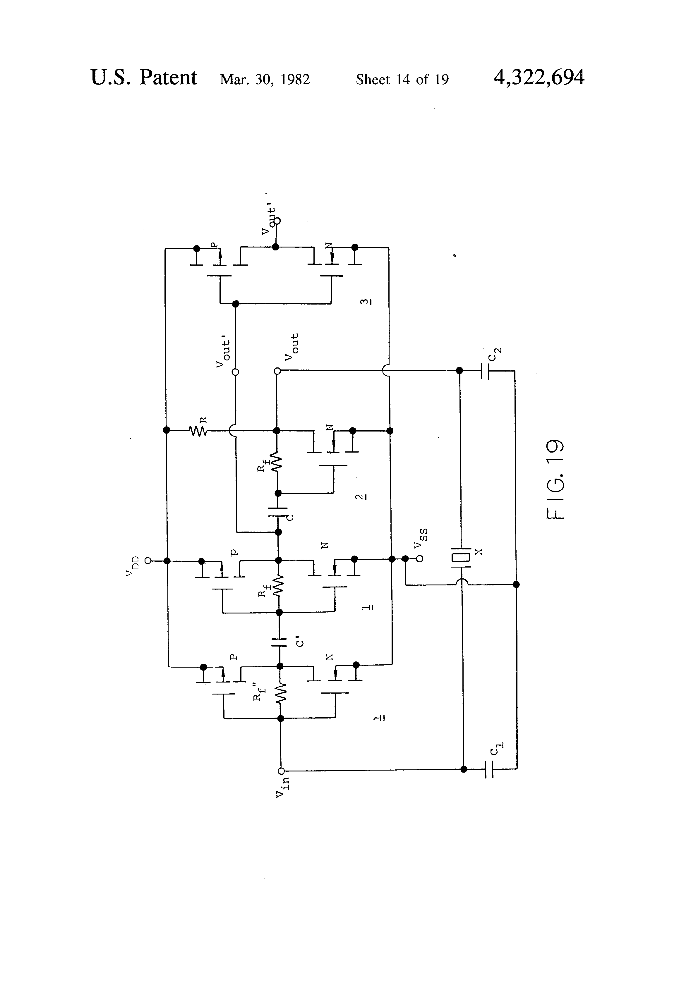 Patent Us4322694 Crystal Oscillator Implemented With Cmos Quartz Sine Wave Circuit Basiccircuit Drawing
